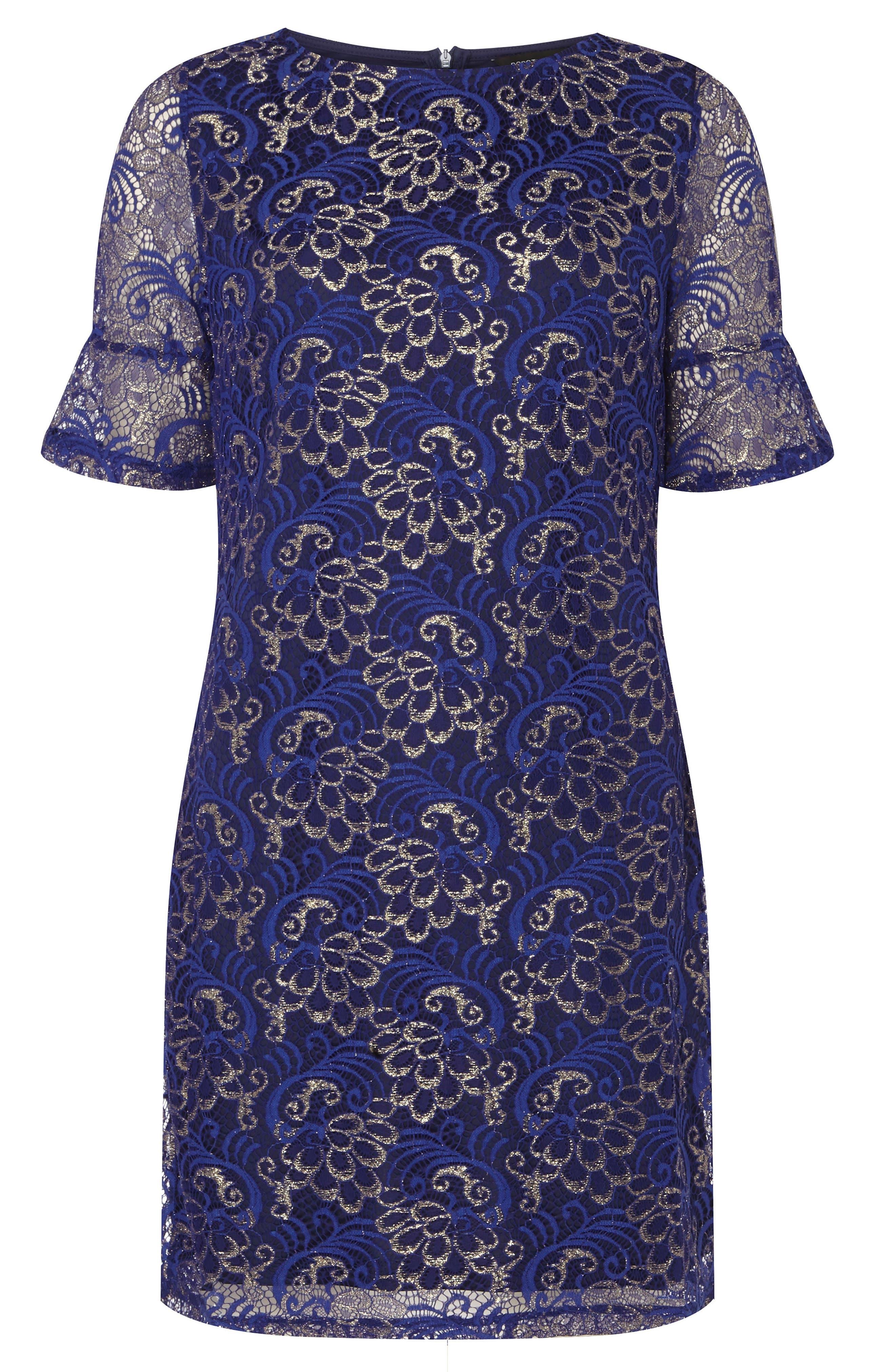 Shimmer Lace Shift Dress,                             Alternate thumbnail 4, color,                             400