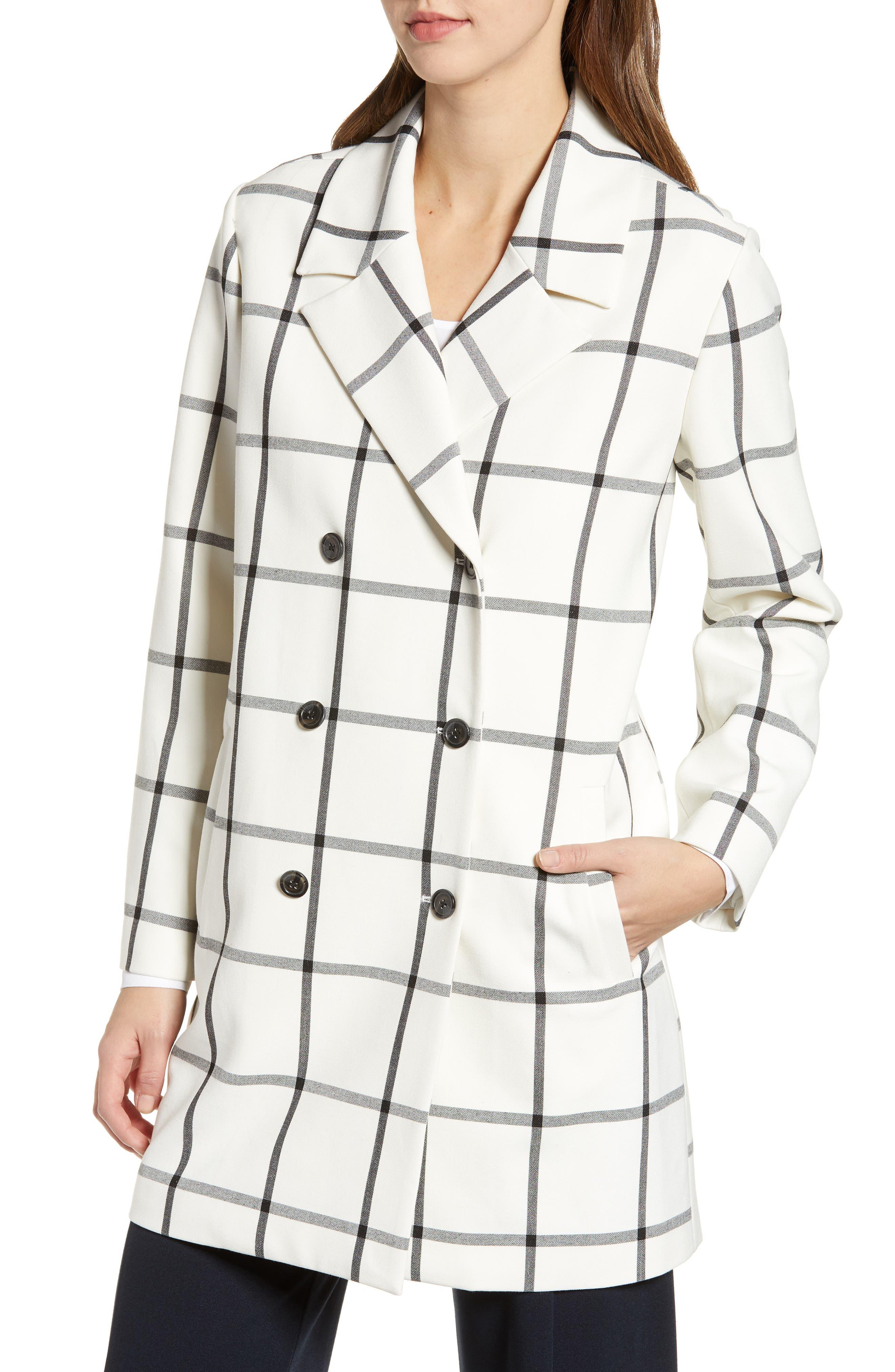 Oversize Check Topper Coat,                             Alternate thumbnail 4, color,                             IVORY