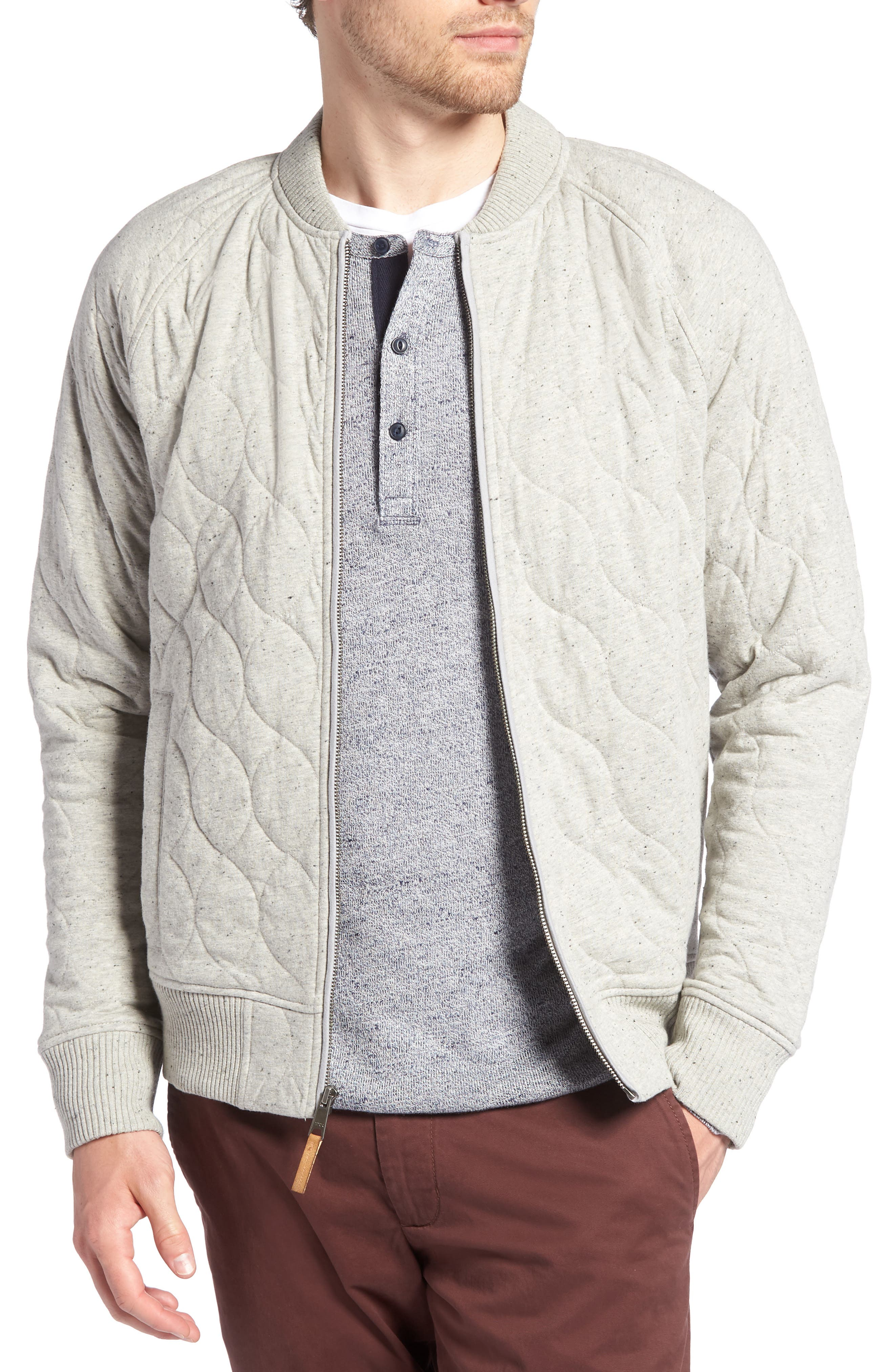 Quilted Bomber Jacket,                         Main,                         color, GREY WEATHER NEP