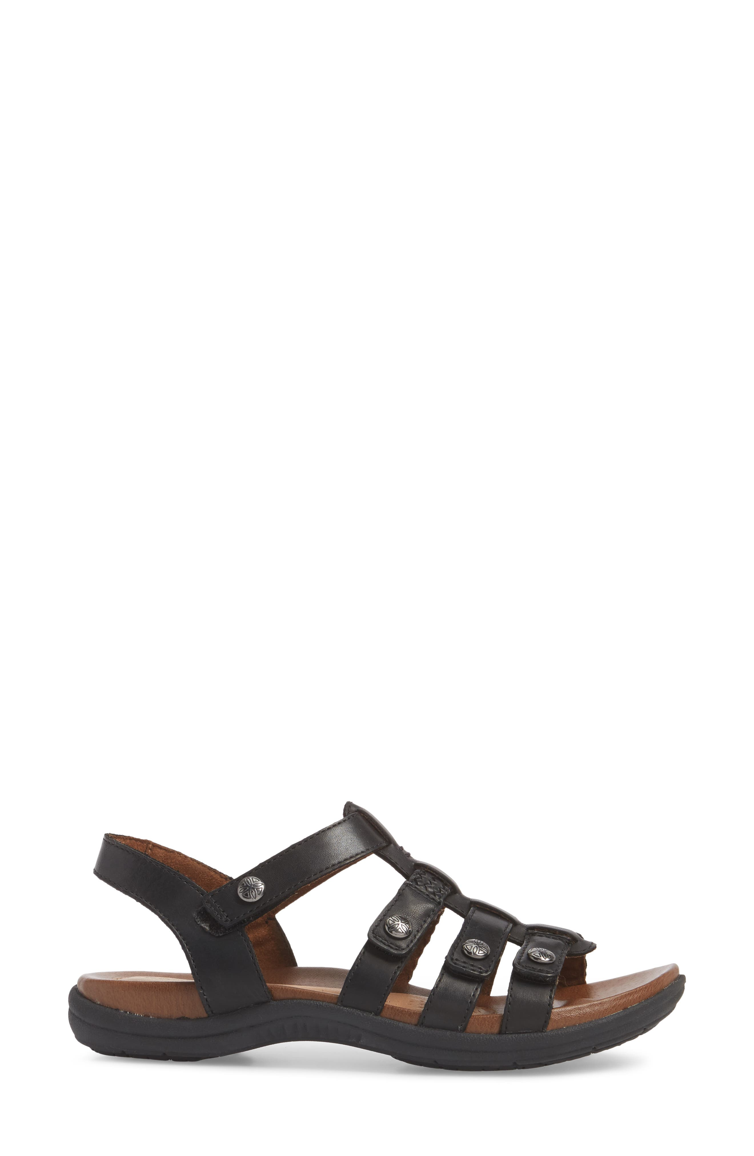 Rubey T-Strap Sandal,                             Alternate thumbnail 3, color,                             BLACK LEATHER