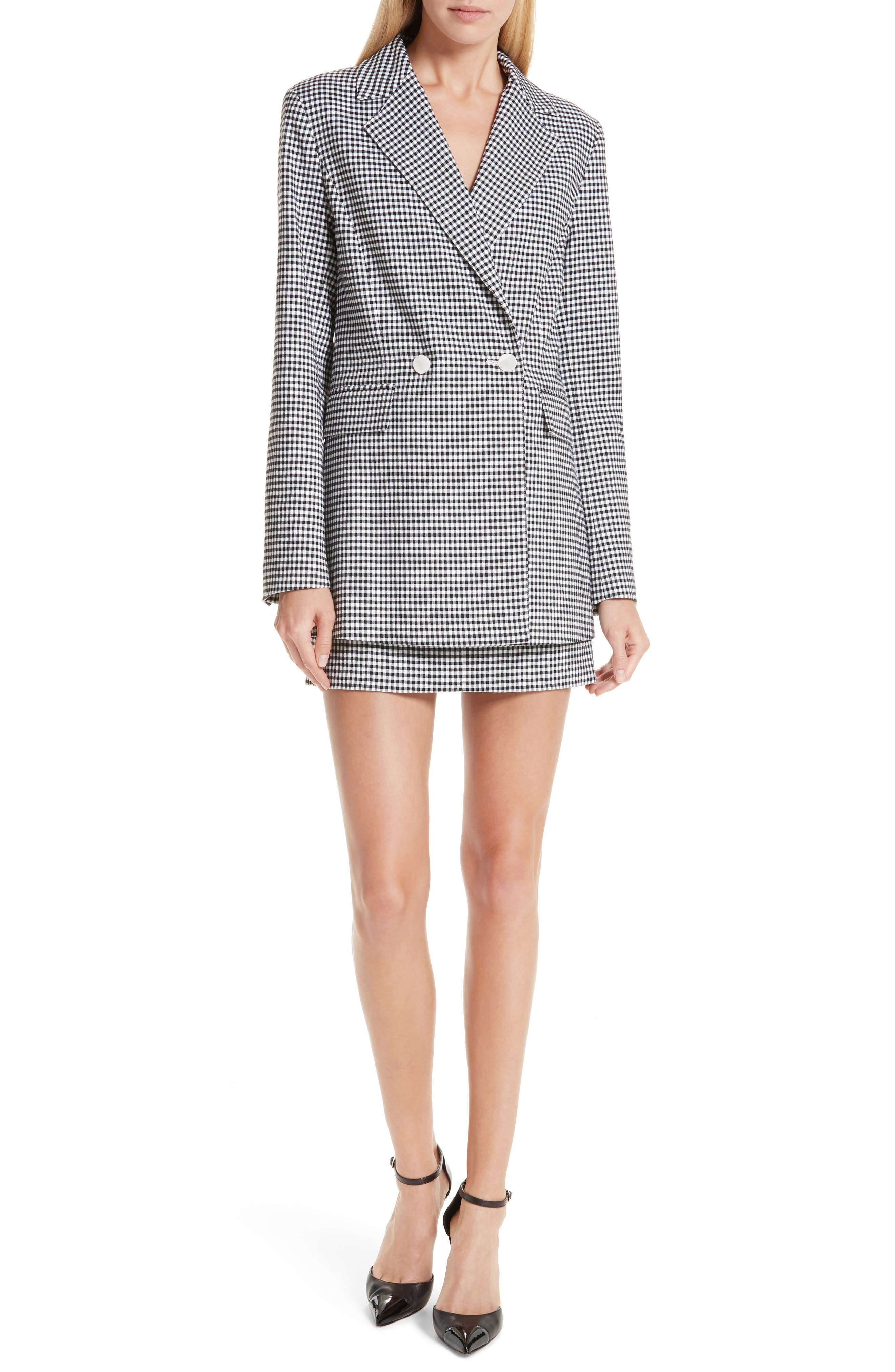 Lexy Mini Check Double Breasted Jacket,                             Alternate thumbnail 7, color,                             BLACK/ WHITE
