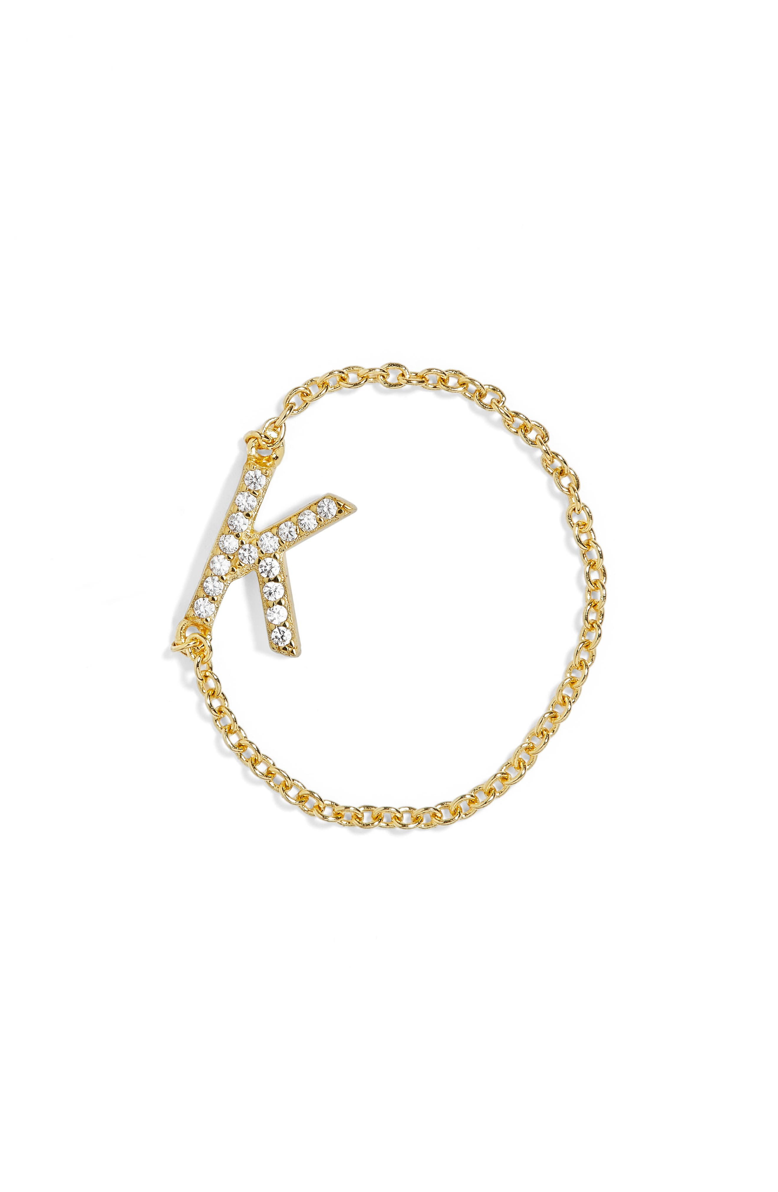Nome Everyday Fine Crystal Initial Chain Ring,                             Main thumbnail 8, color,
