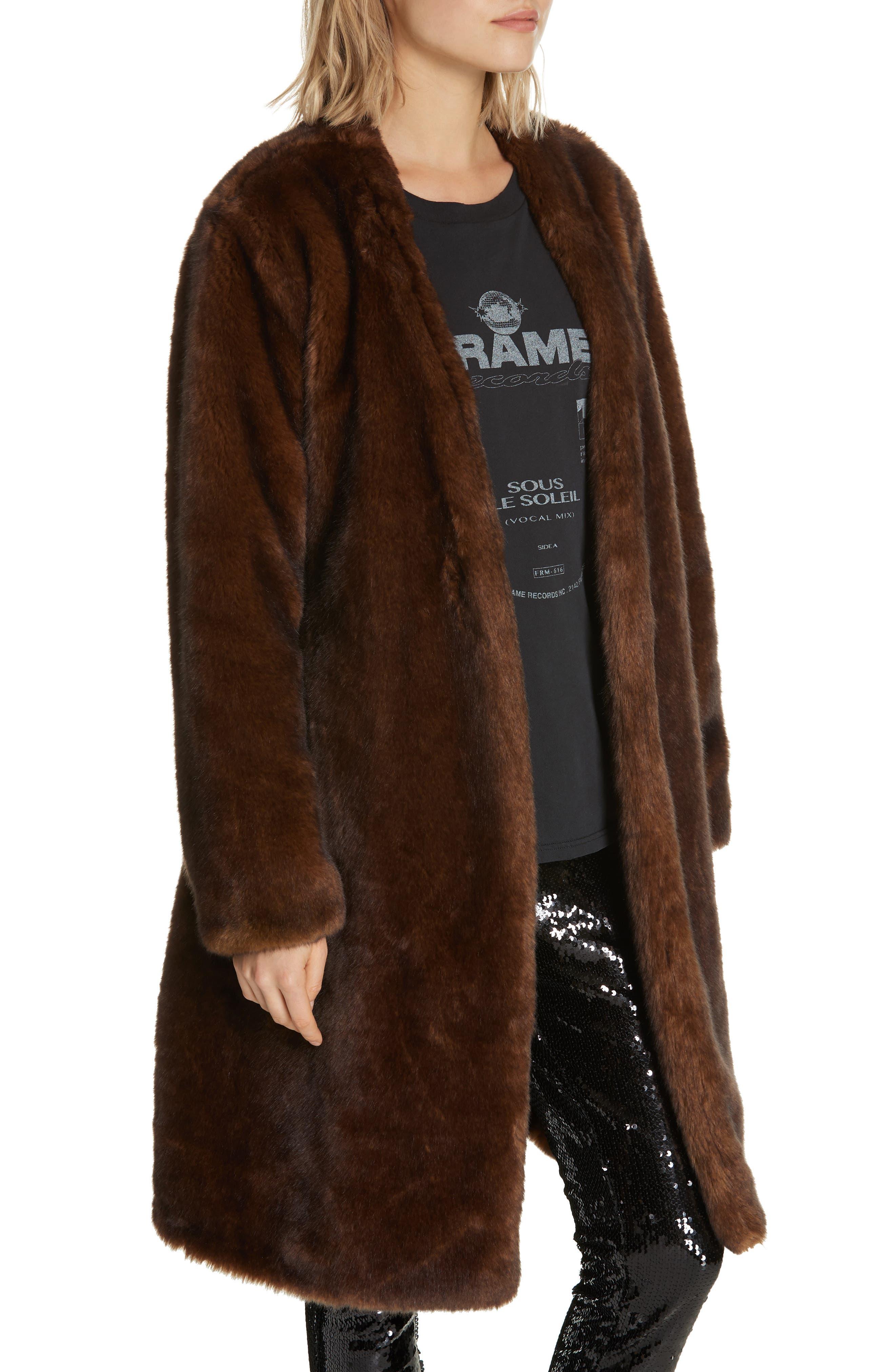 FRAME,                             Faux Mink Fur Robe Coat,                             Alternate thumbnail 4, color,                             201