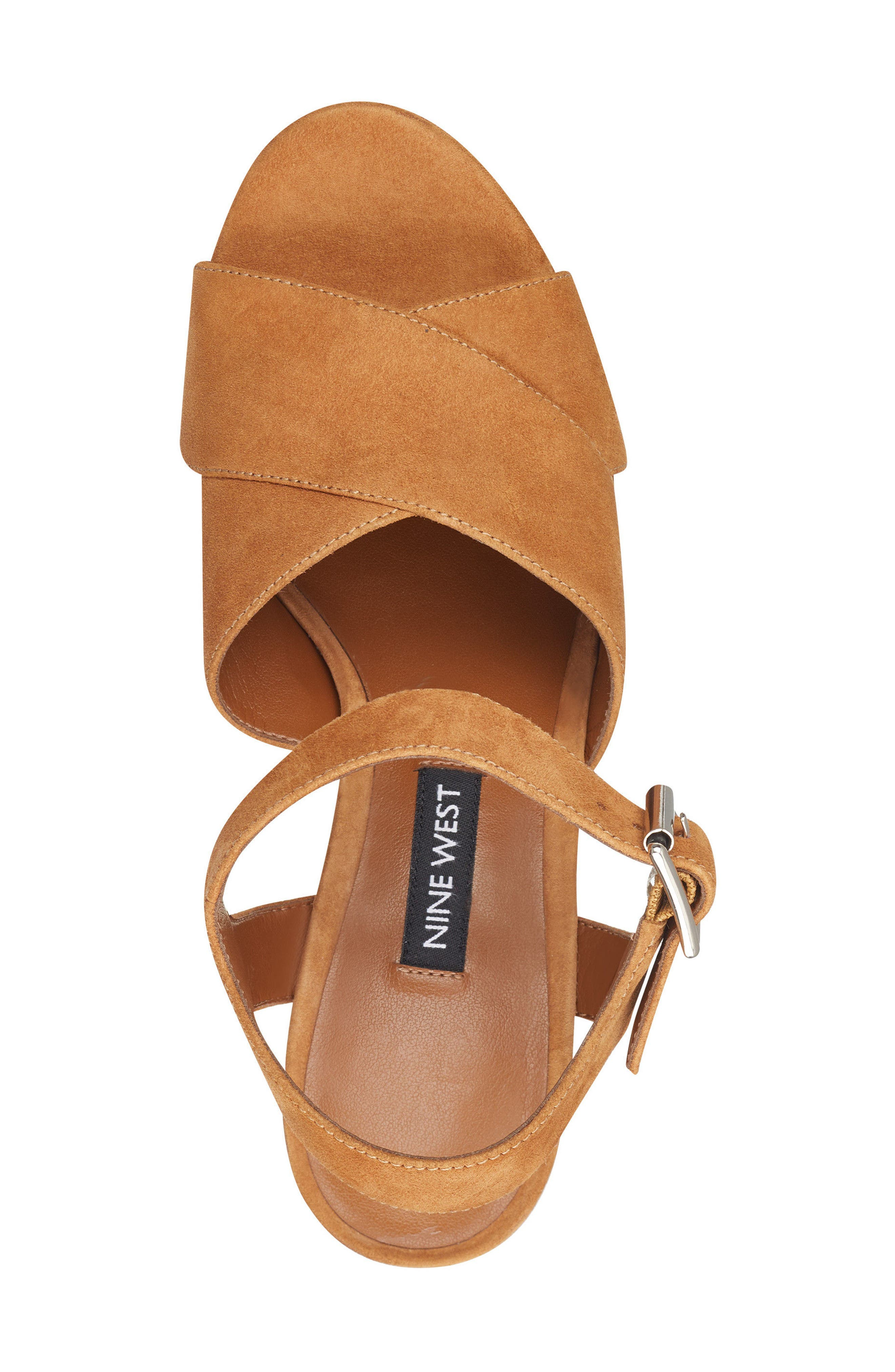 Jimar Platform Sandal,                             Alternate thumbnail 5, color,                             DARK NATURAL SUEDE