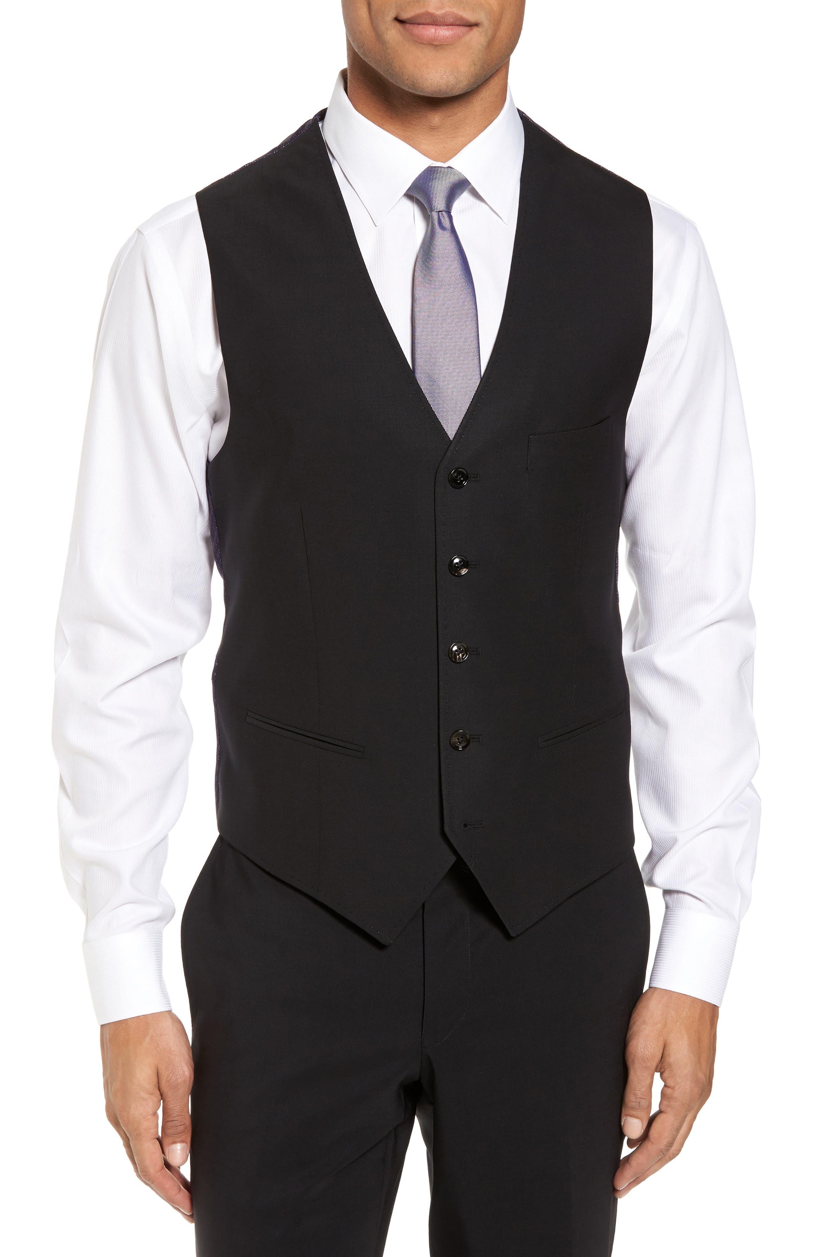 Trim Fit Solid Wool Vest,                         Main,                         color, BLACK