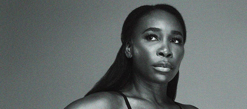Black and white image of tennis champion Venus Williams.