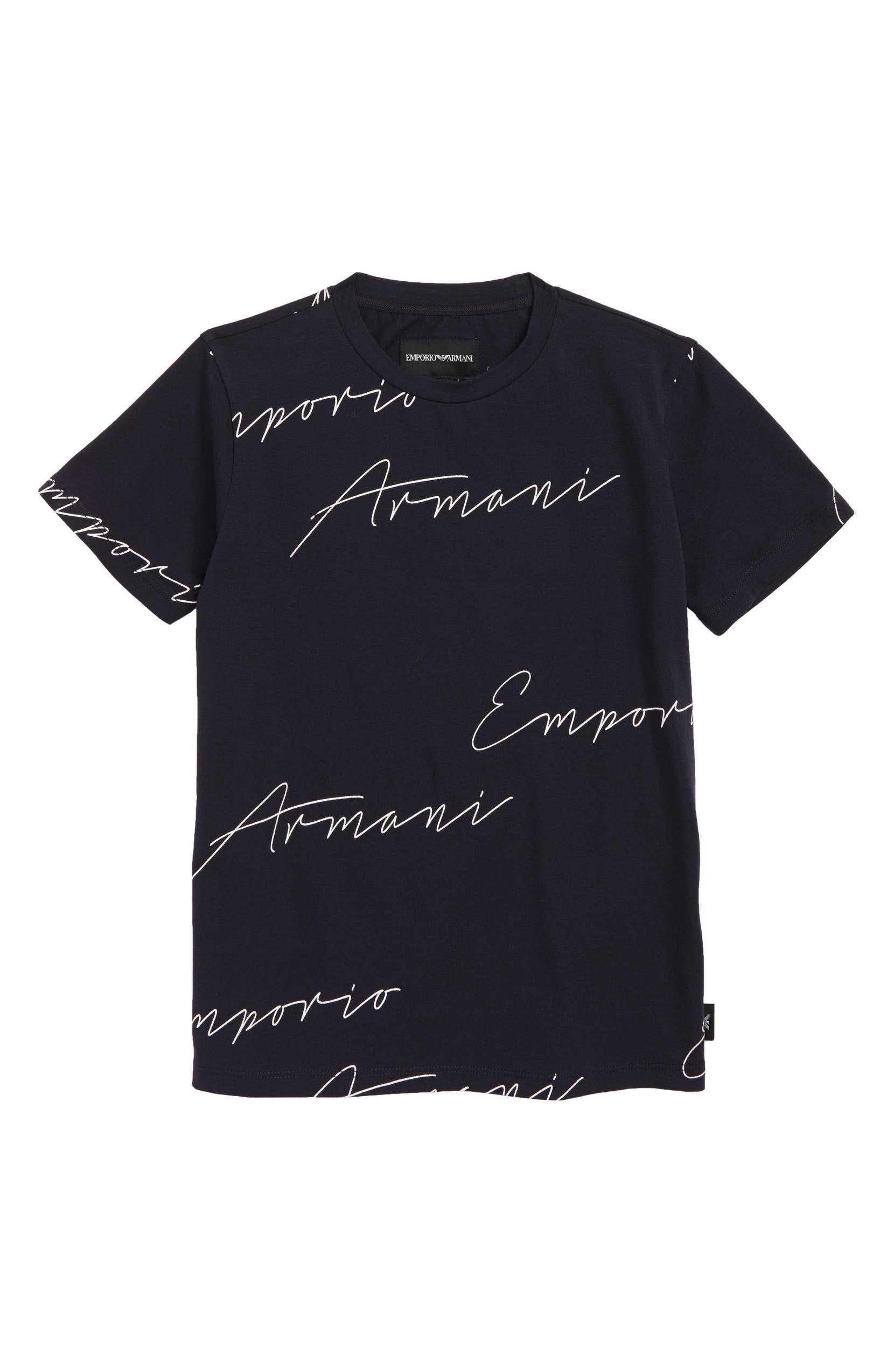 9eb8b638b75c Armani Junior Script Logo T-Shirt (Little Boys   Big Boys)