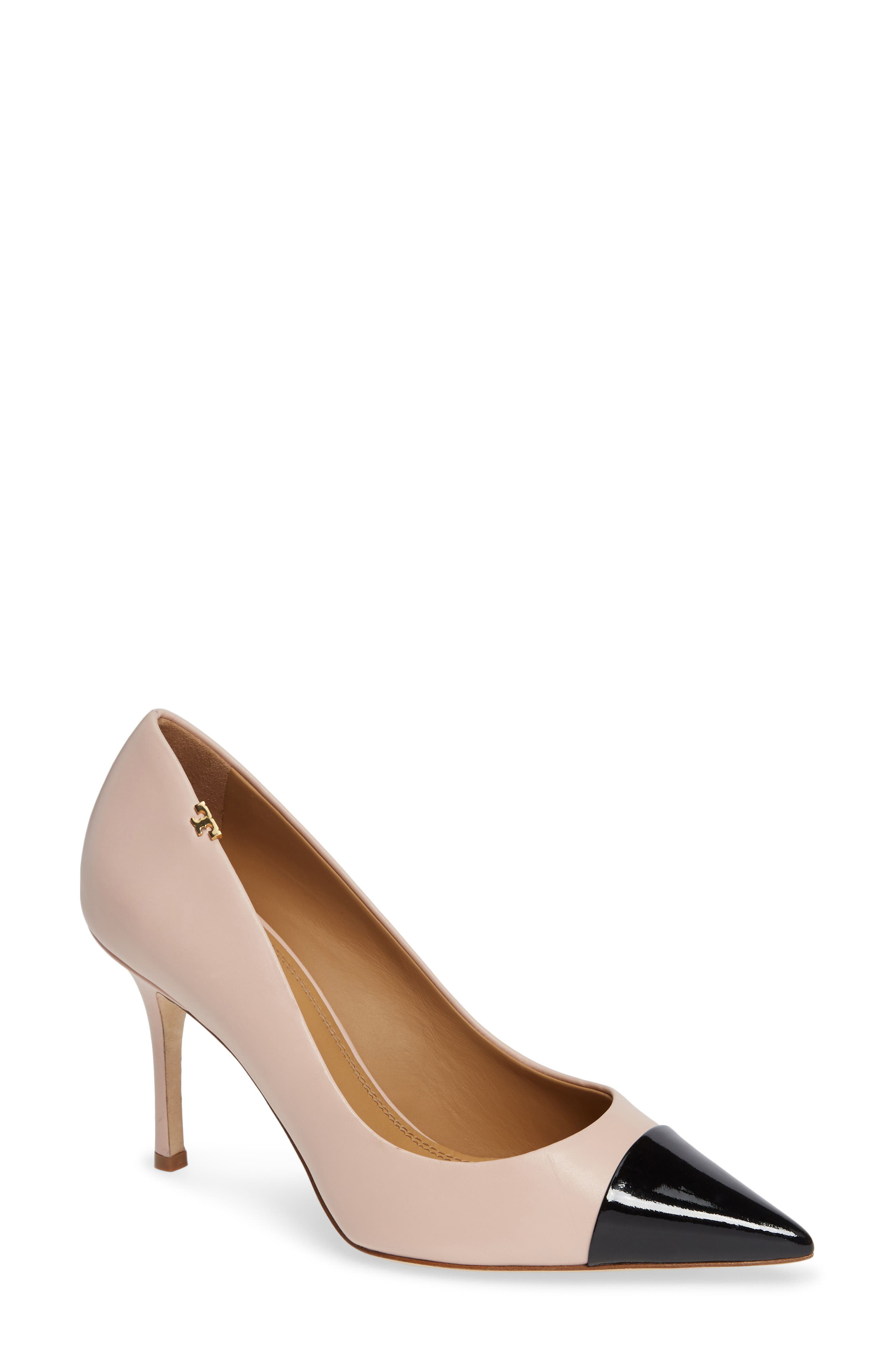 Women'S Penelope Cap Toe Color-Block Leather Pumps in Sea Shell Pink/Perfect Black