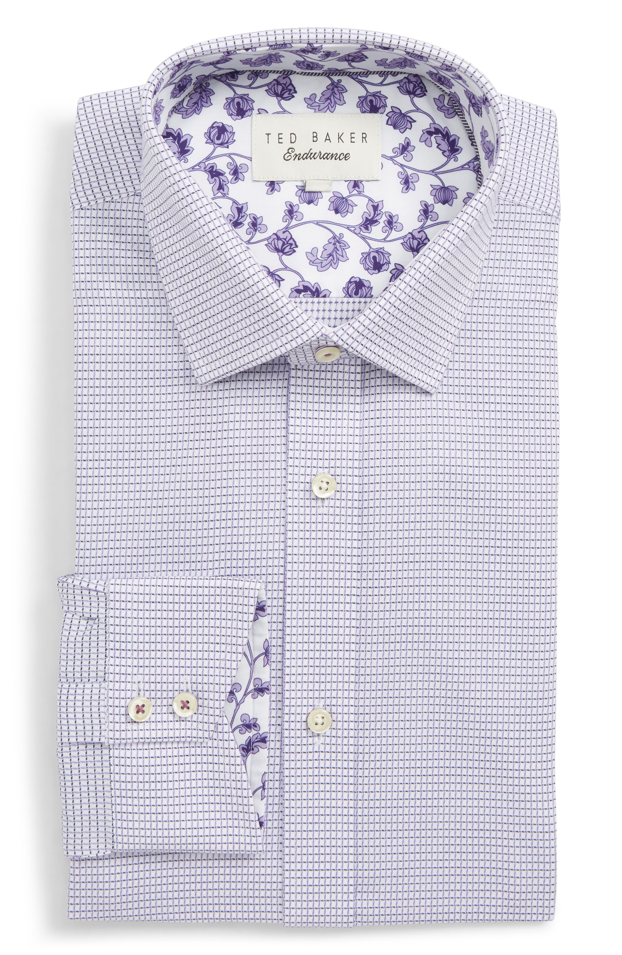 Jossle Trim Fit Check Dress Shirt,                         Main,                         color, LILAC