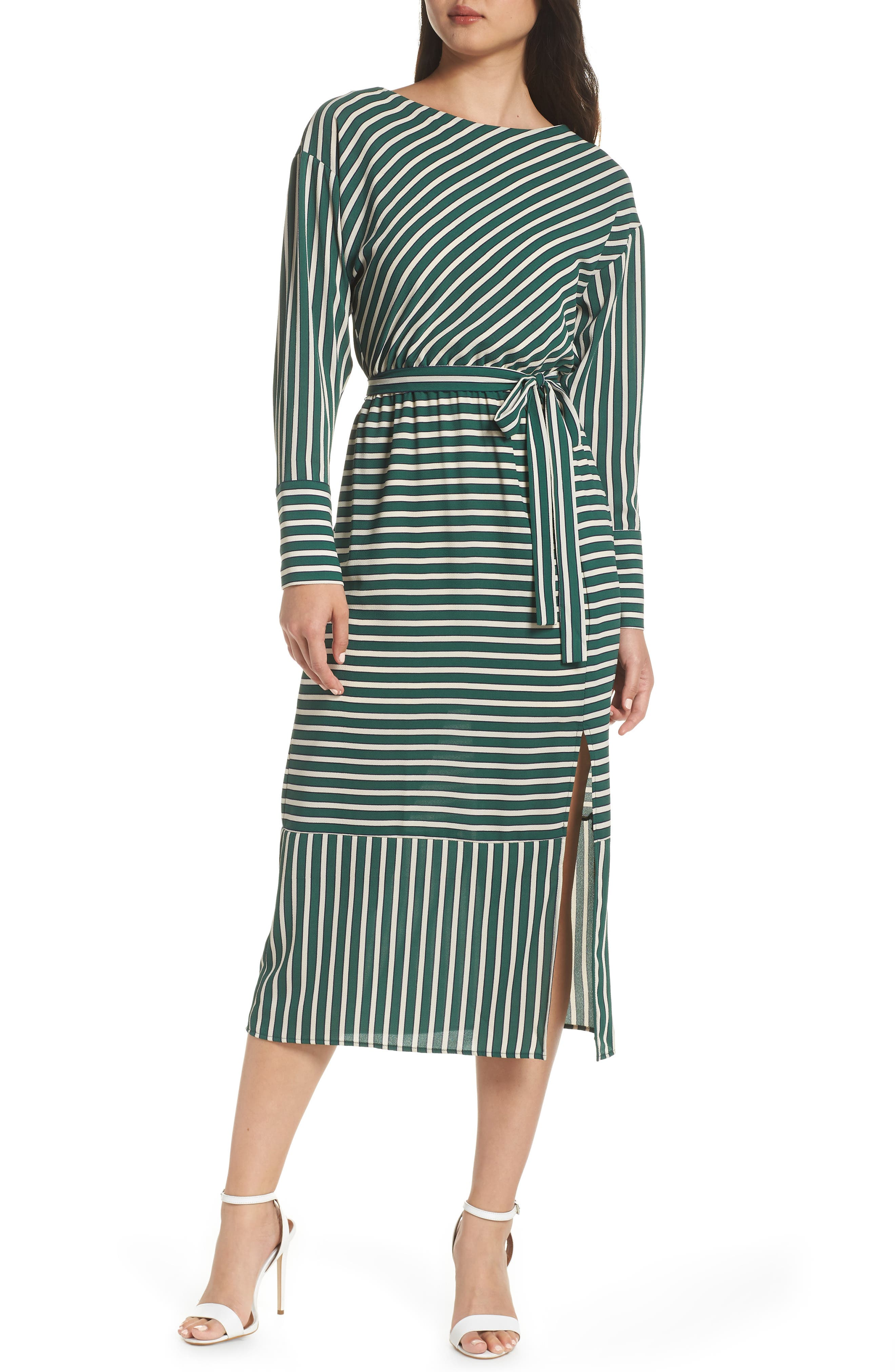 CHARLES HENRY Striped Midi Dress in Hunter Stripe