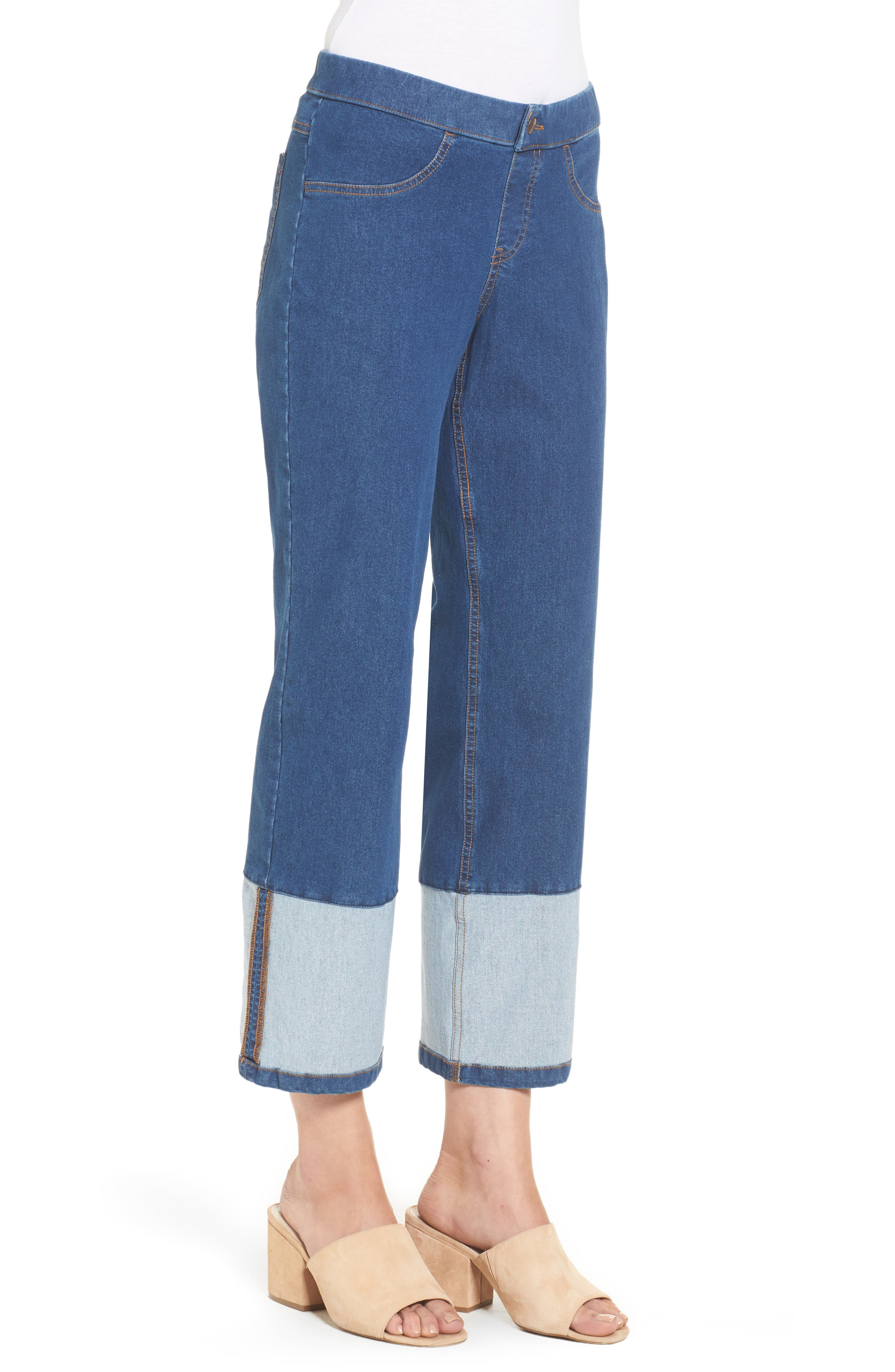 Crop Denim Pants,                             Alternate thumbnail 3, color,