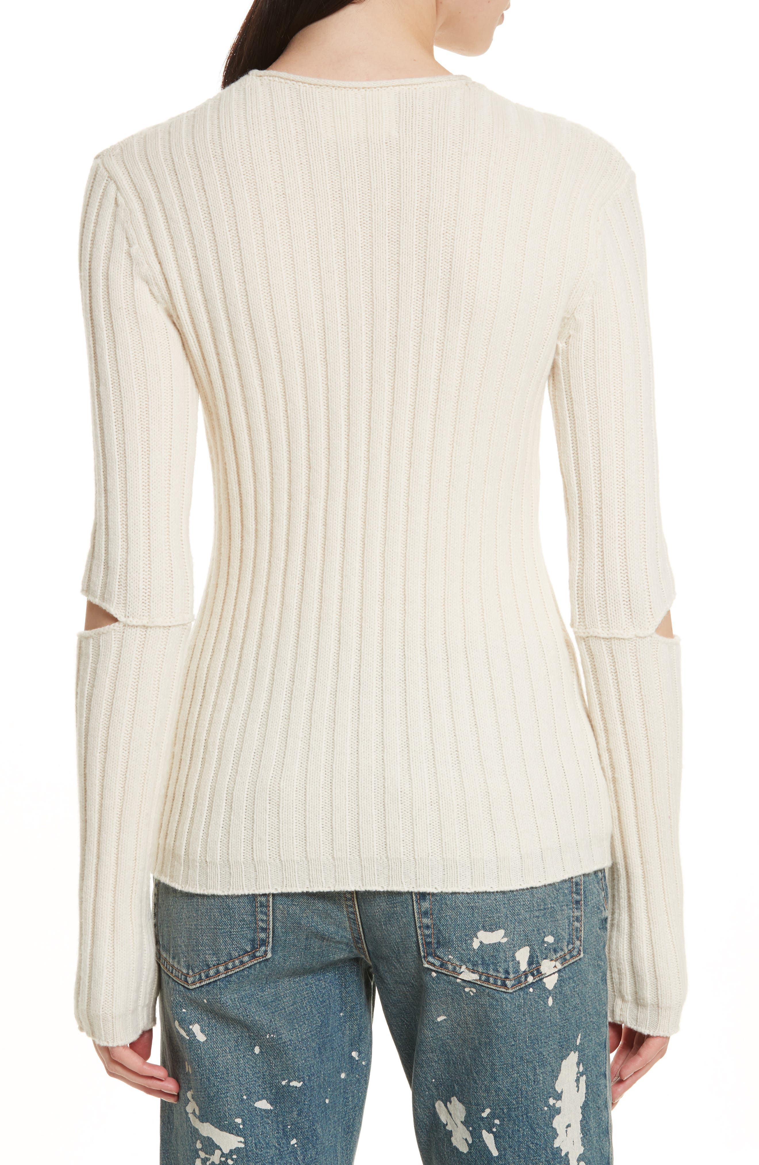 Re-Edition Elbow Cutout Lambswool Sweater,                             Alternate thumbnail 4, color,