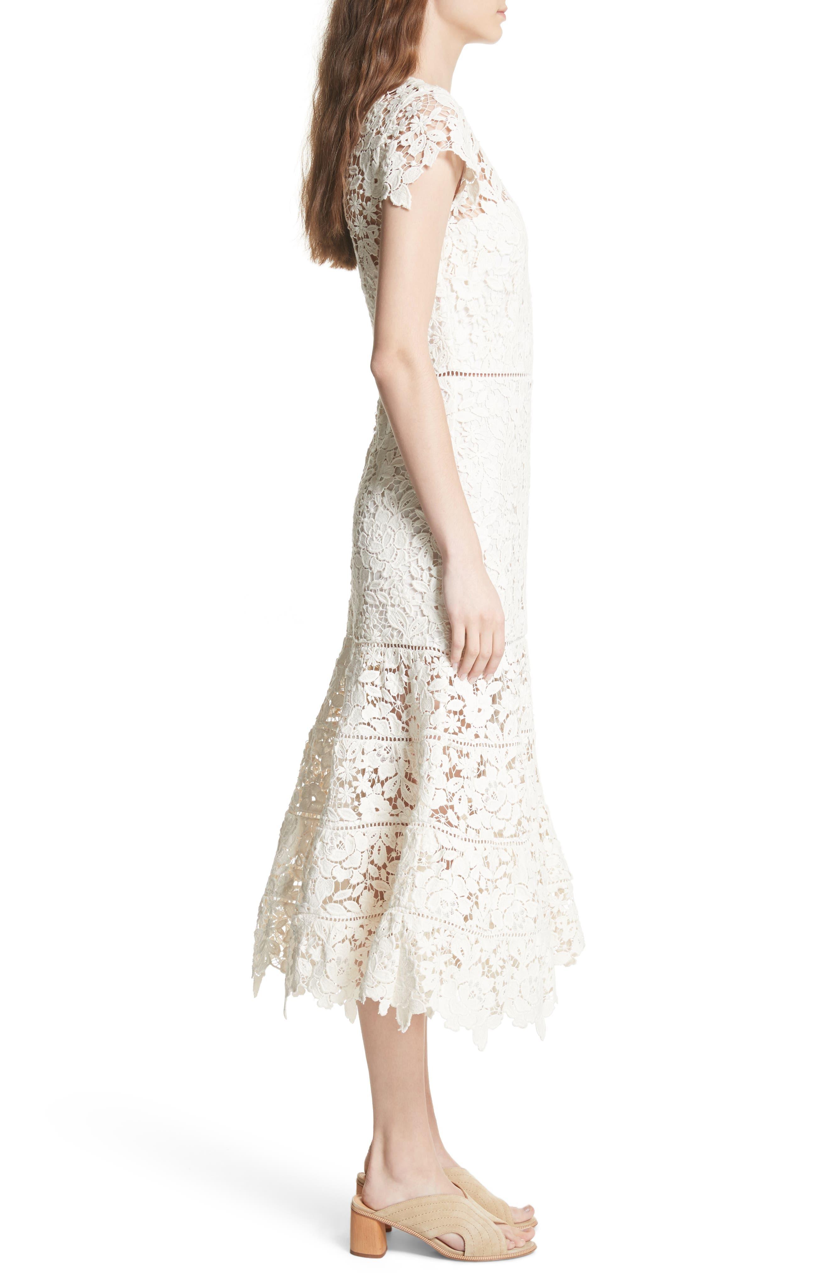 Celedonia Scallop Lace Dress,                             Alternate thumbnail 3, color,                             PORCELAIN