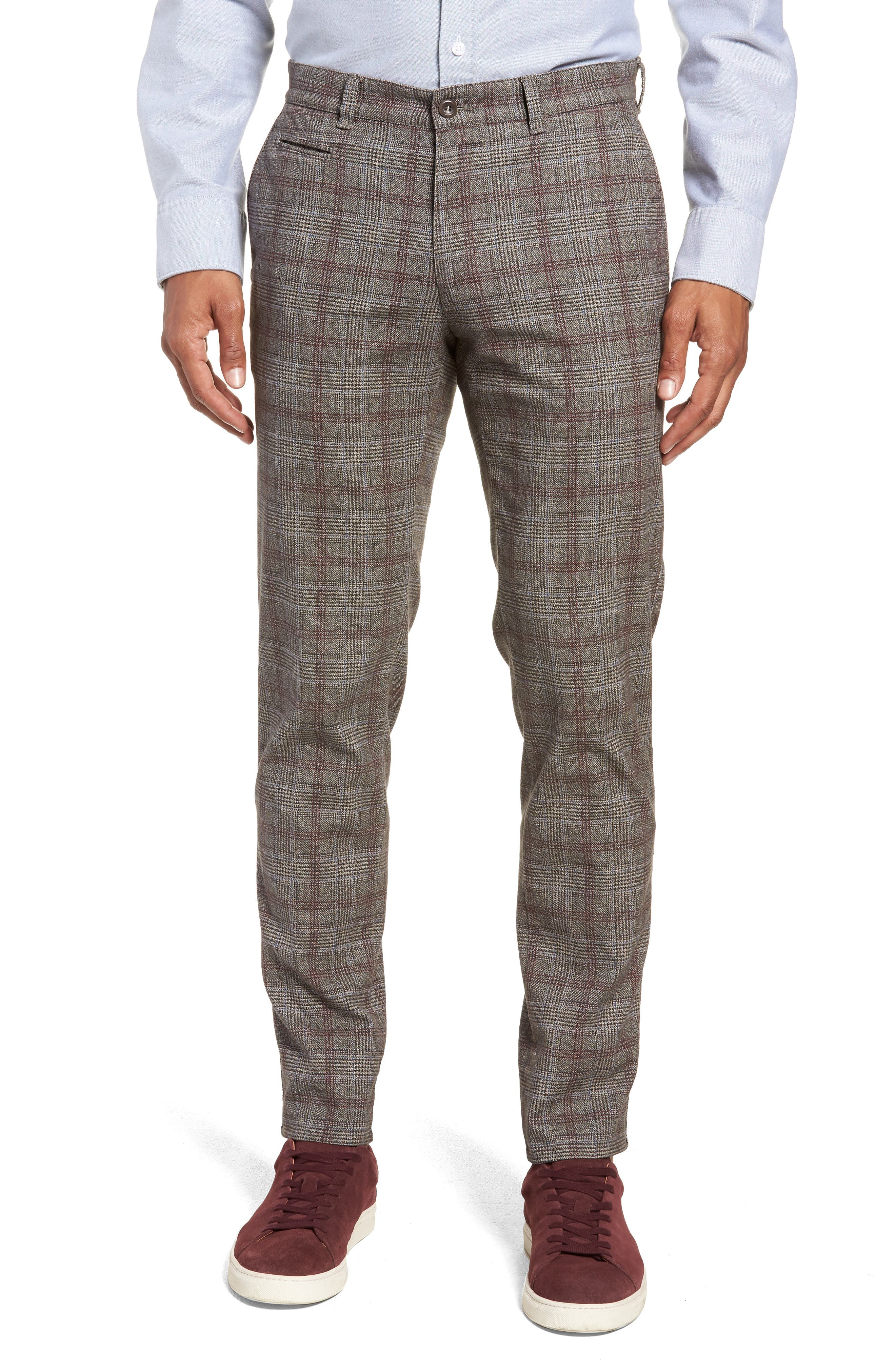 Woolook Slim Fit Check Flat Front Pants,                             Main thumbnail 1, color,                             BEIGE