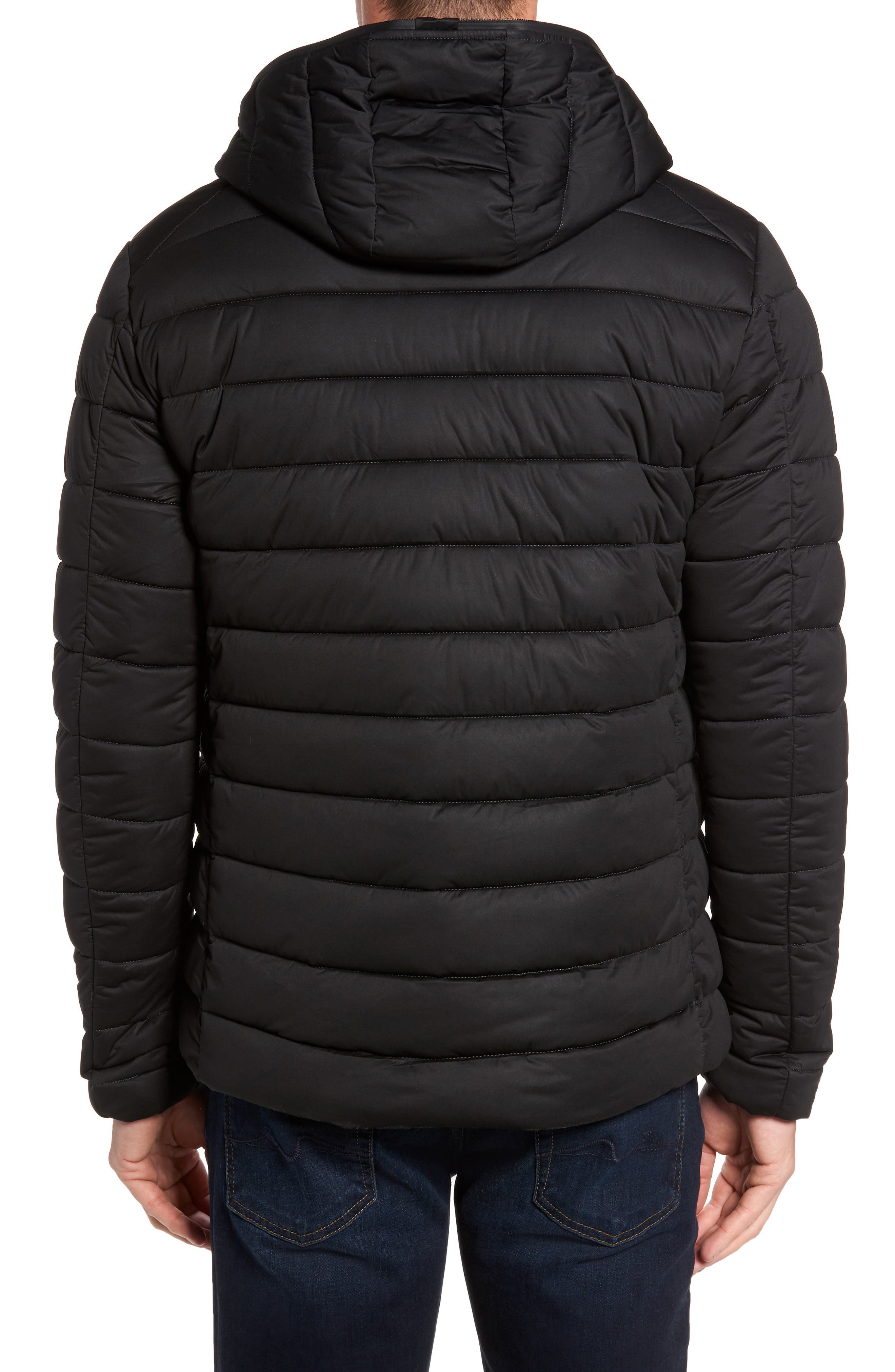 Hooded Water Resistant Puffer Jacket,                             Alternate thumbnail 2, color,                             001