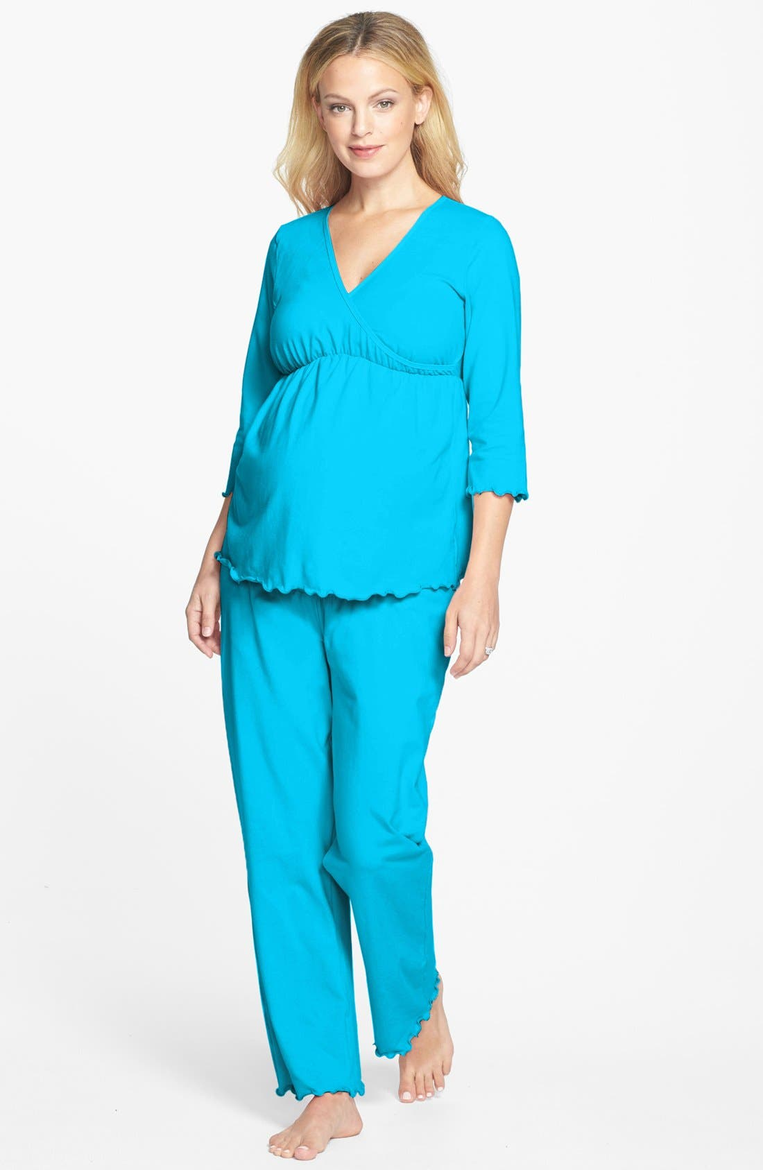 Japanese Weekend Maternity/nursing Pajamas, Blue