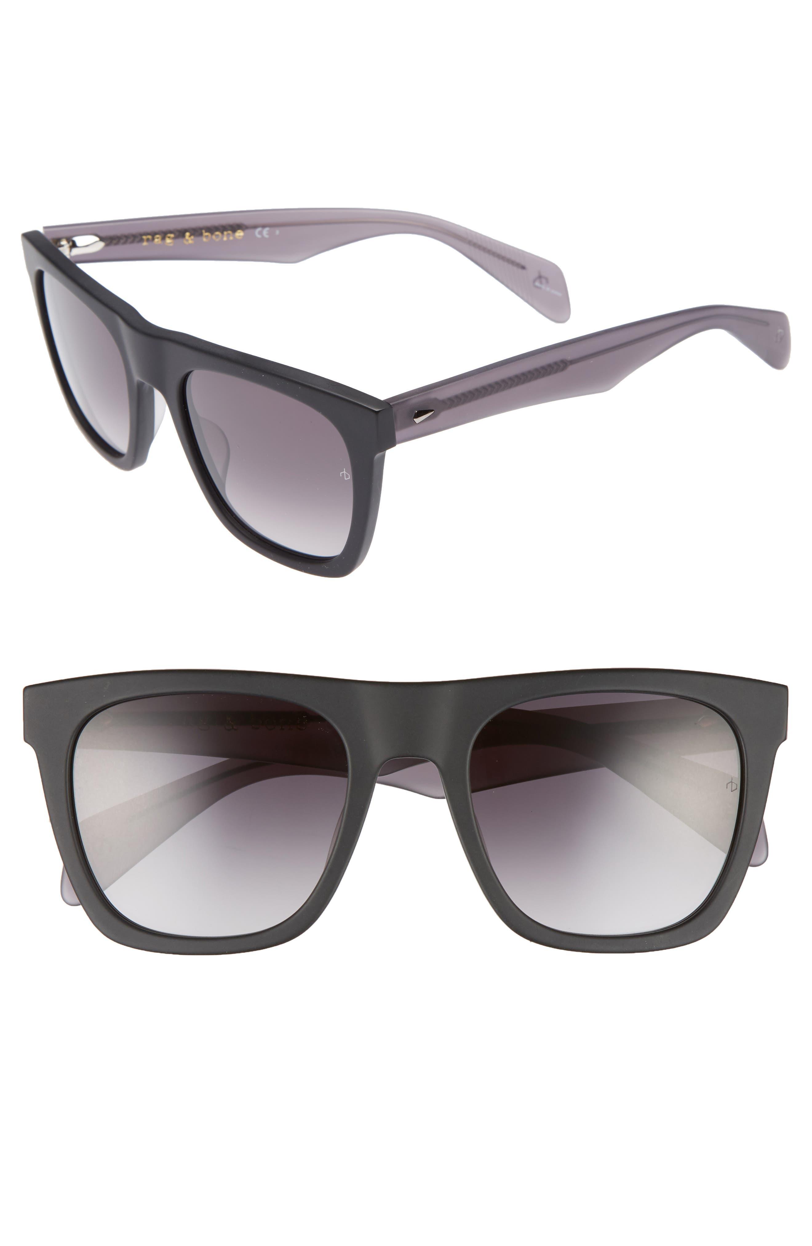 54mm Gradient Sunglasses,                         Main,                         color, BLUE/ DARK GREY