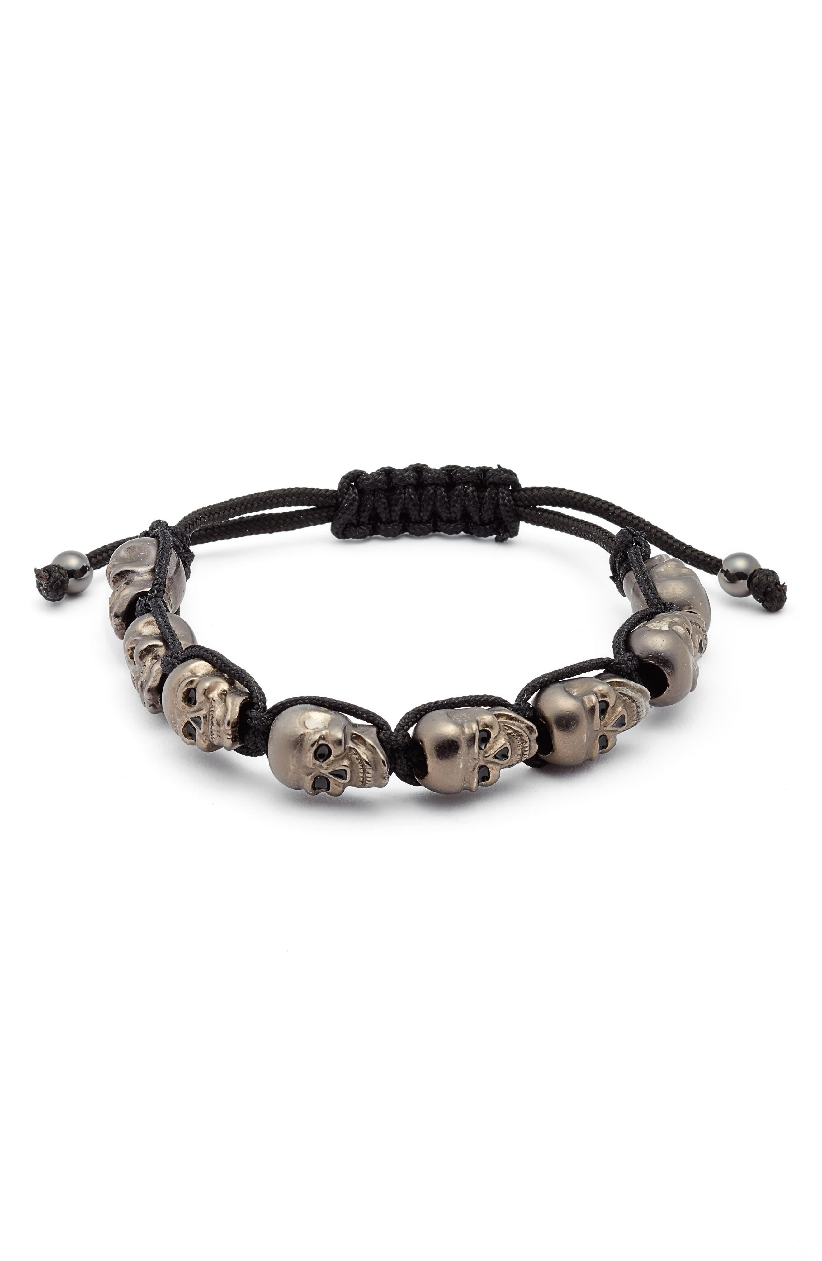 Skulls Adjustable Shambala Bracelet,                         Main,                         color, HEMATITE