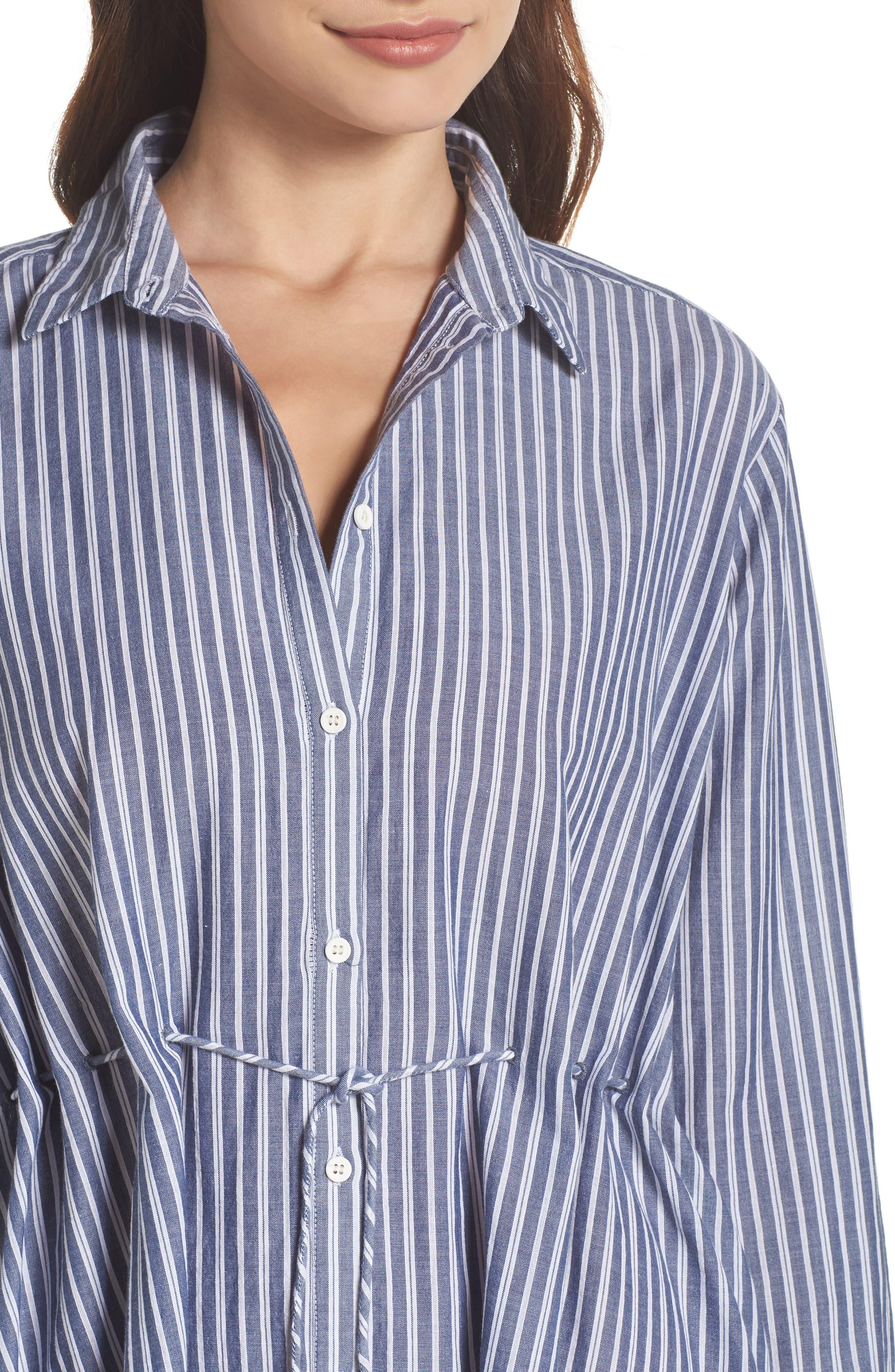 Tatus Stripe Drawstring Cotton Shirtdress,                             Alternate thumbnail 4, color,                             452
