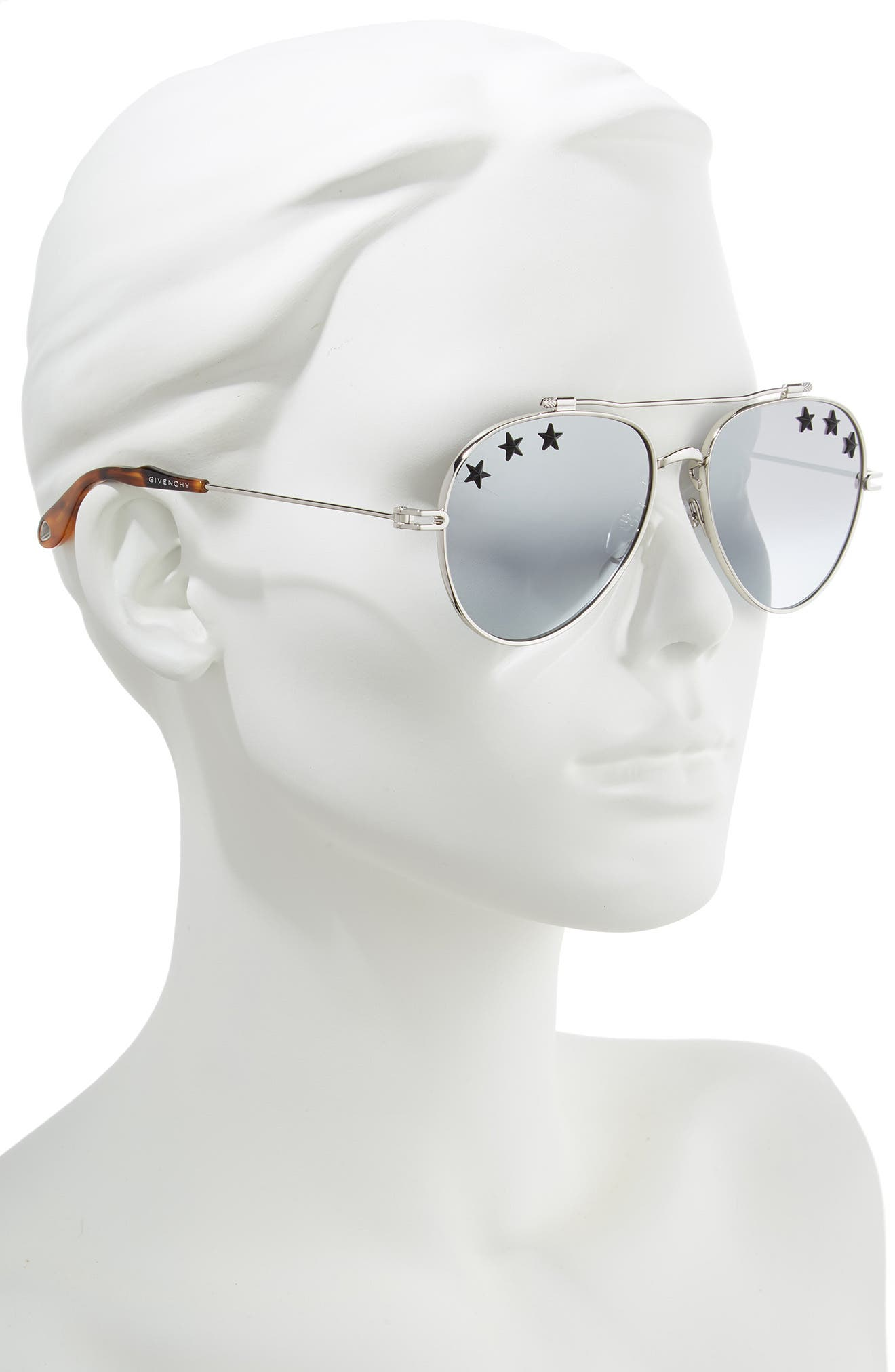 Star Detail 58mm Mirrored Aviator Sunglasses,                             Alternate thumbnail 2, color,                             PALLADIUM/ GREY AZURE