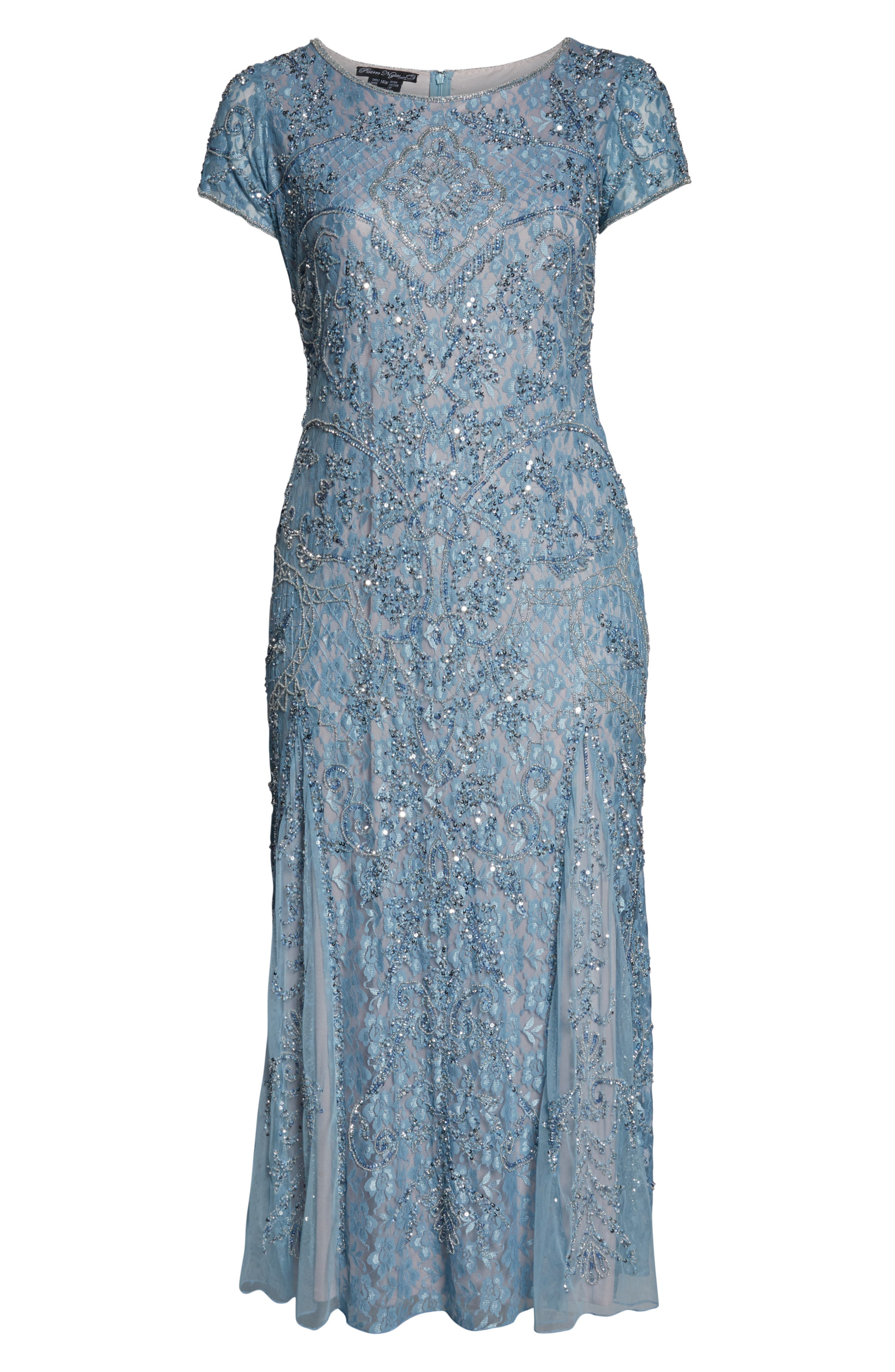 PISARRO NIGHTS,                             Embellished Lace A-Line Dress,                             Alternate thumbnail 7, color,                             SKY BLUE