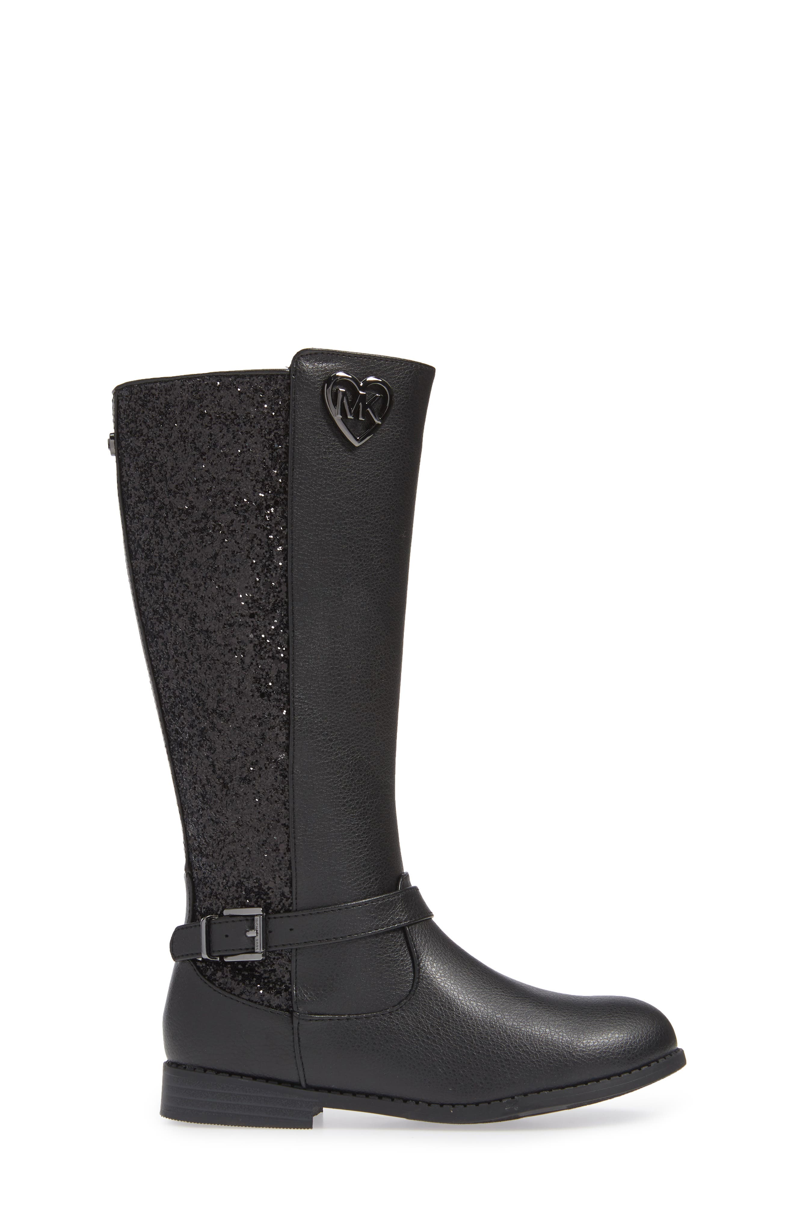 Emma Quinn Faux Leather Glitter Riding Boot,                             Alternate thumbnail 3, color,                             BLACK