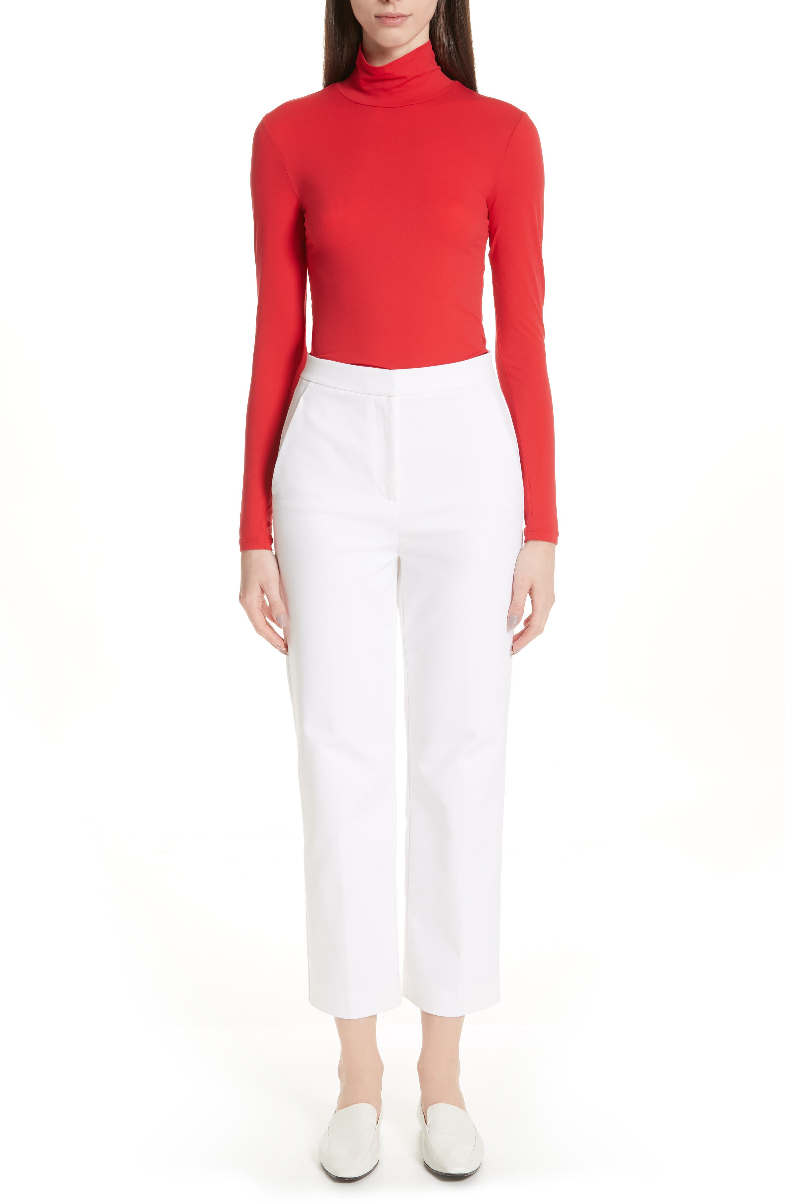 ST. JOHN COLLECTION,                             Nuda Fine Jersey Turtleneck Shell,                             Alternate thumbnail 7, color,                             CRIMSON
