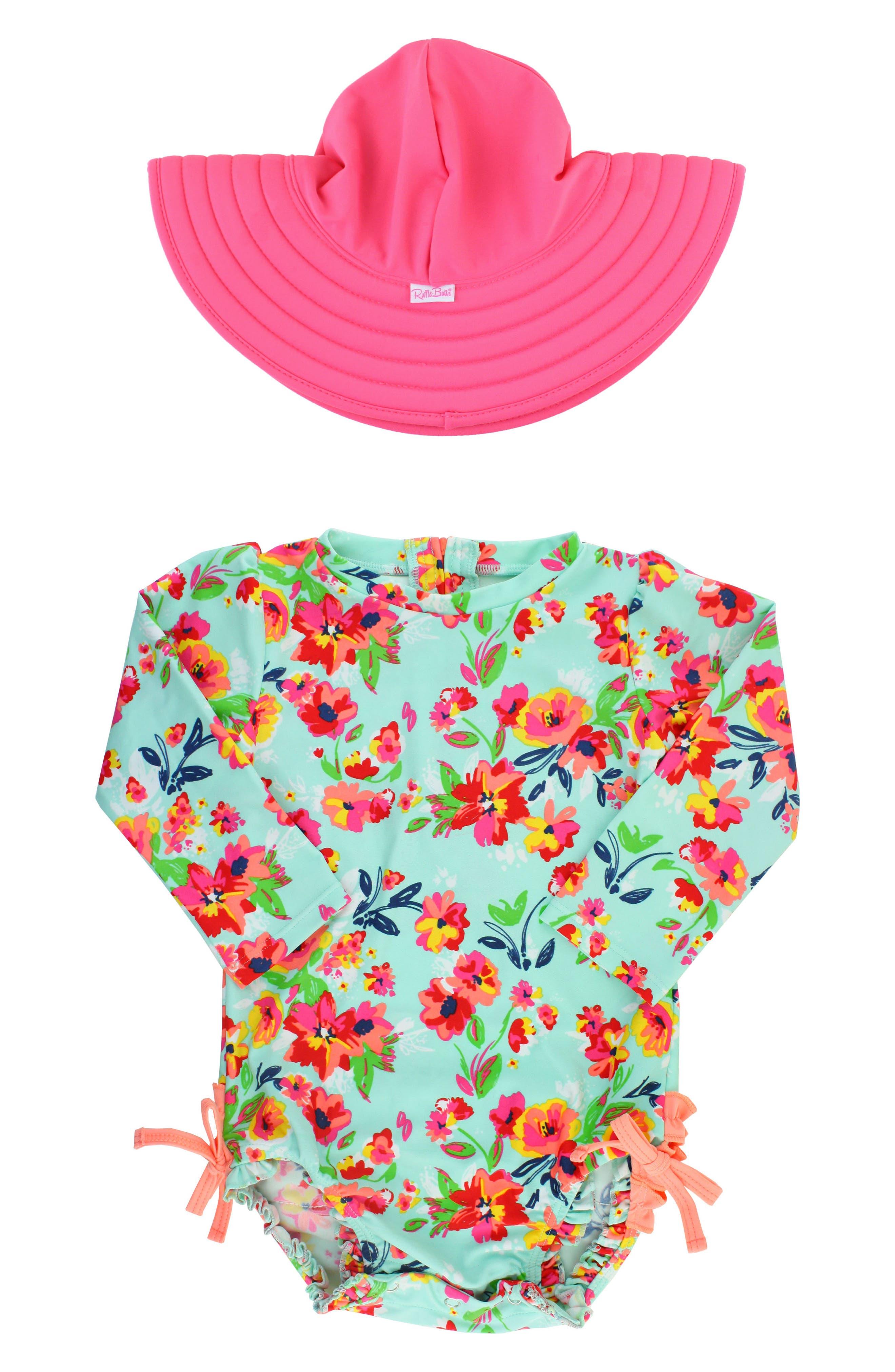 Painted Flowers One-Piece Rashguard Swimsuit & Reversible Sun Hat Set,                             Main thumbnail 1, color,                             460