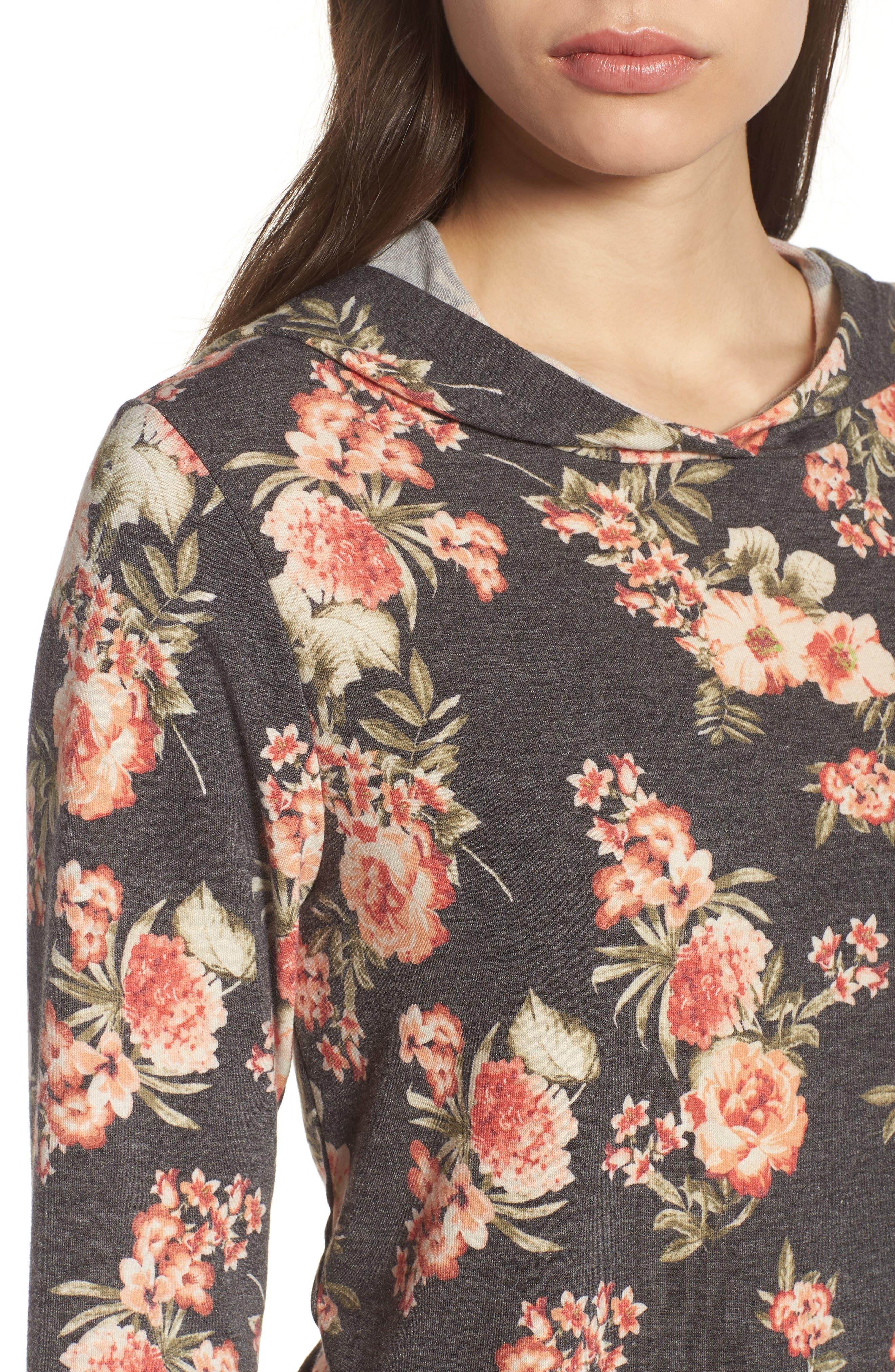 PLEIONE,                             Printed Hoodie Sweatshirt,                             Alternate thumbnail 4, color,                             010