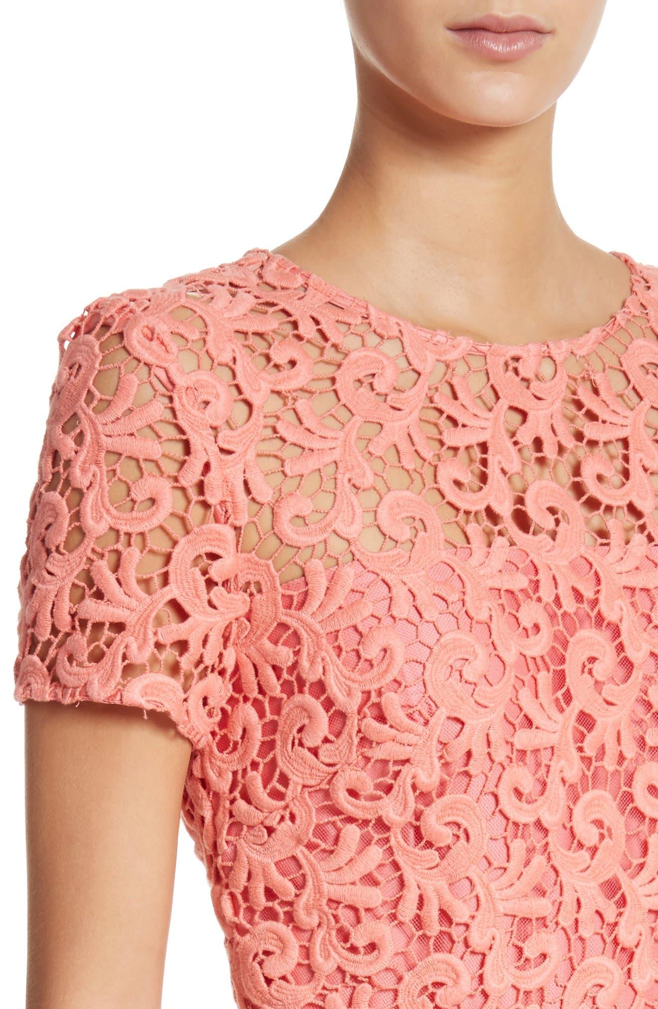 Paisley Guipure Lace Dress,                             Alternate thumbnail 4, color,                             950