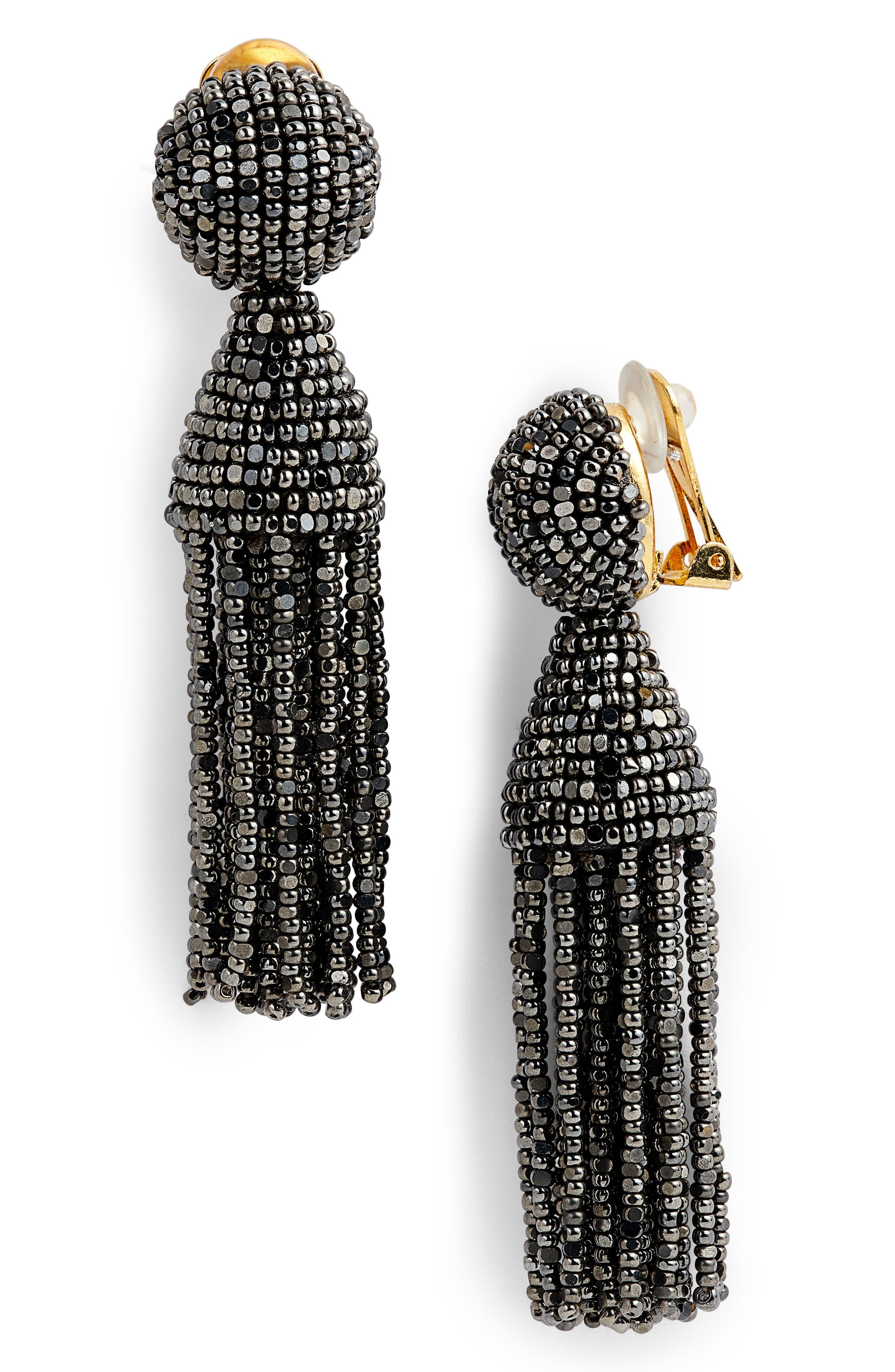 'Classic Short' Tassel Drop Clip Earrings,                             Main thumbnail 10, color,