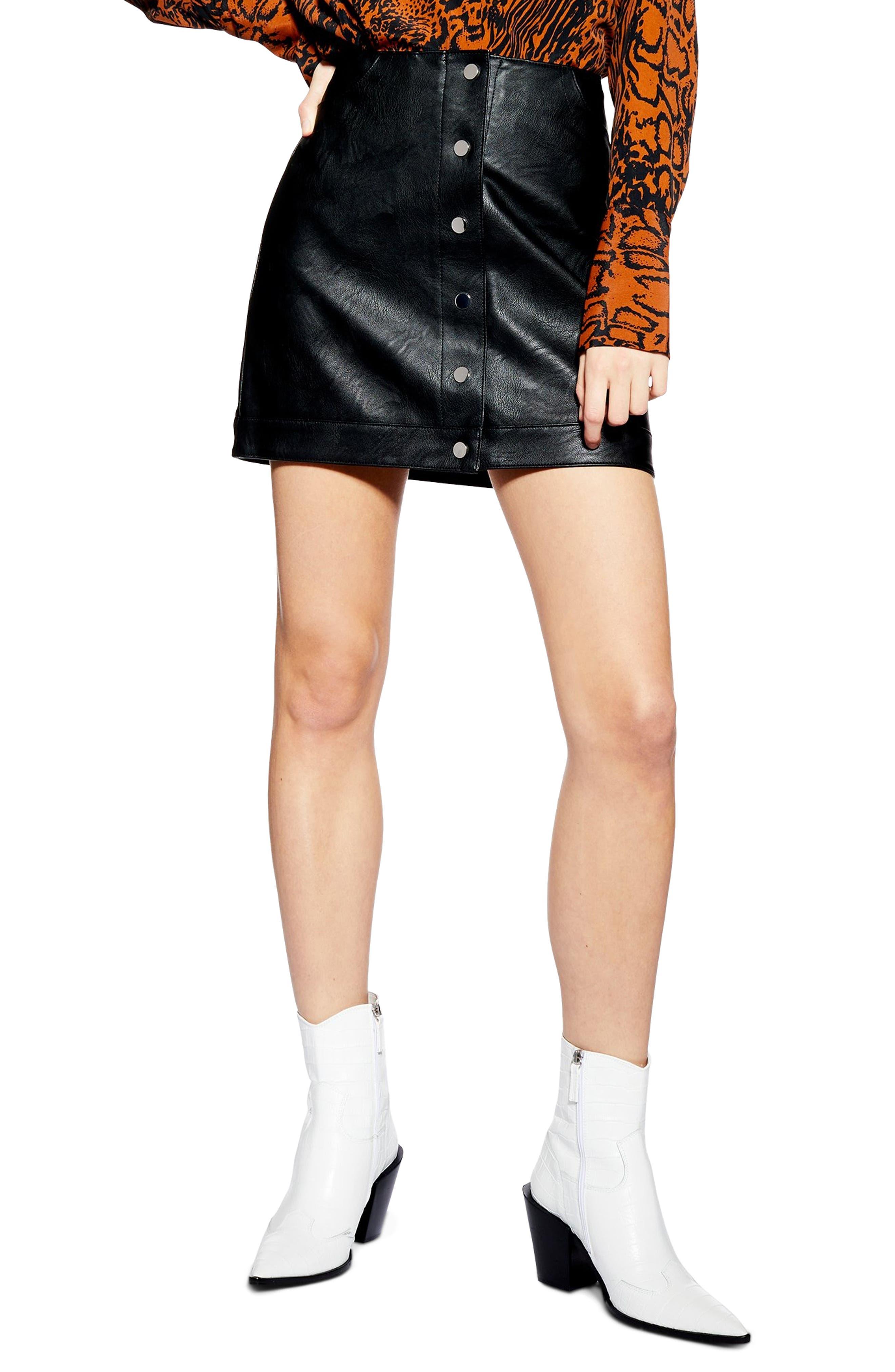 Dixie Faux Leather Miniskirt, Main, color, BLACK
