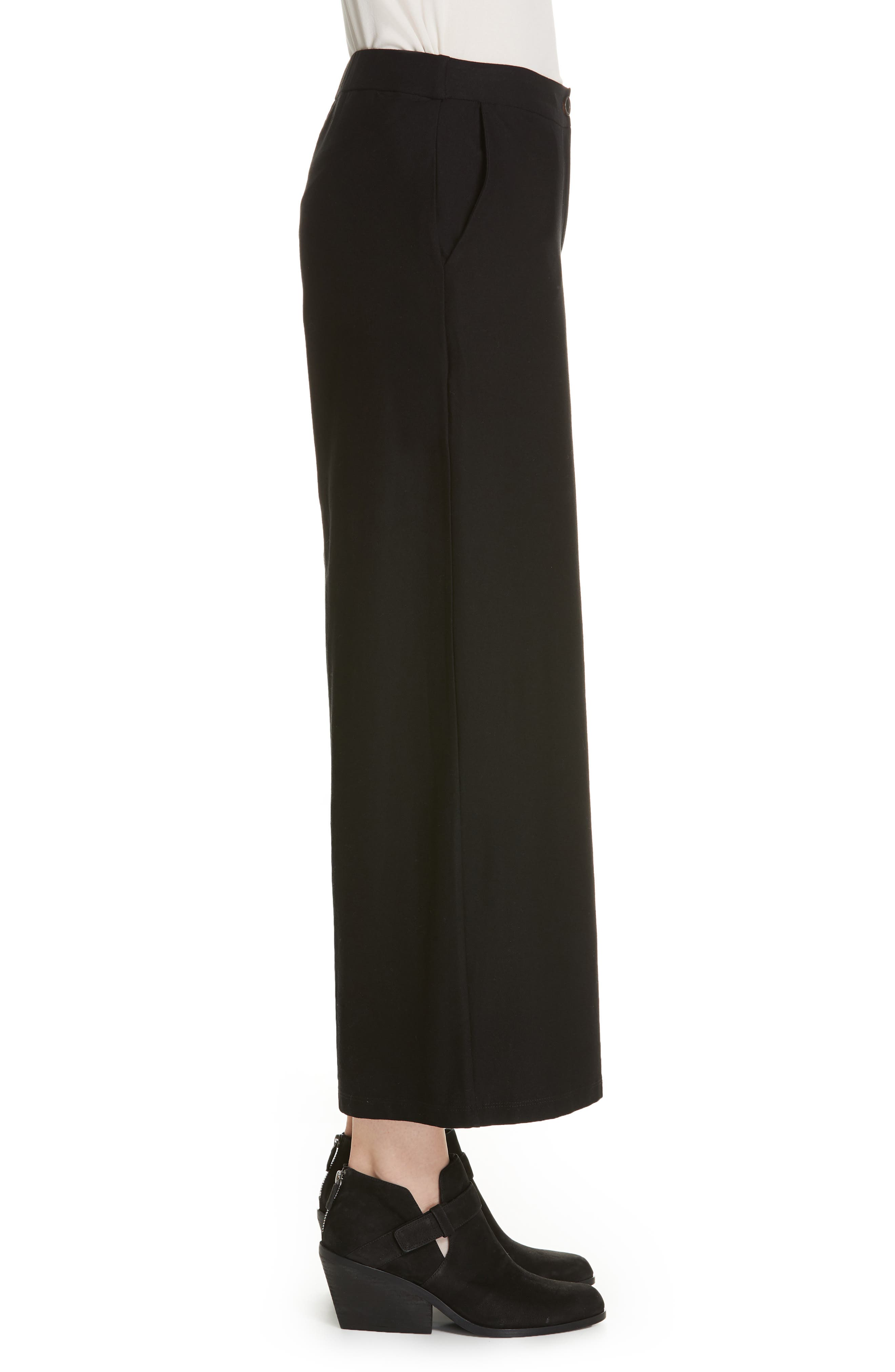 High Waist Ankle Pants,                             Alternate thumbnail 3, color,                             BLACK