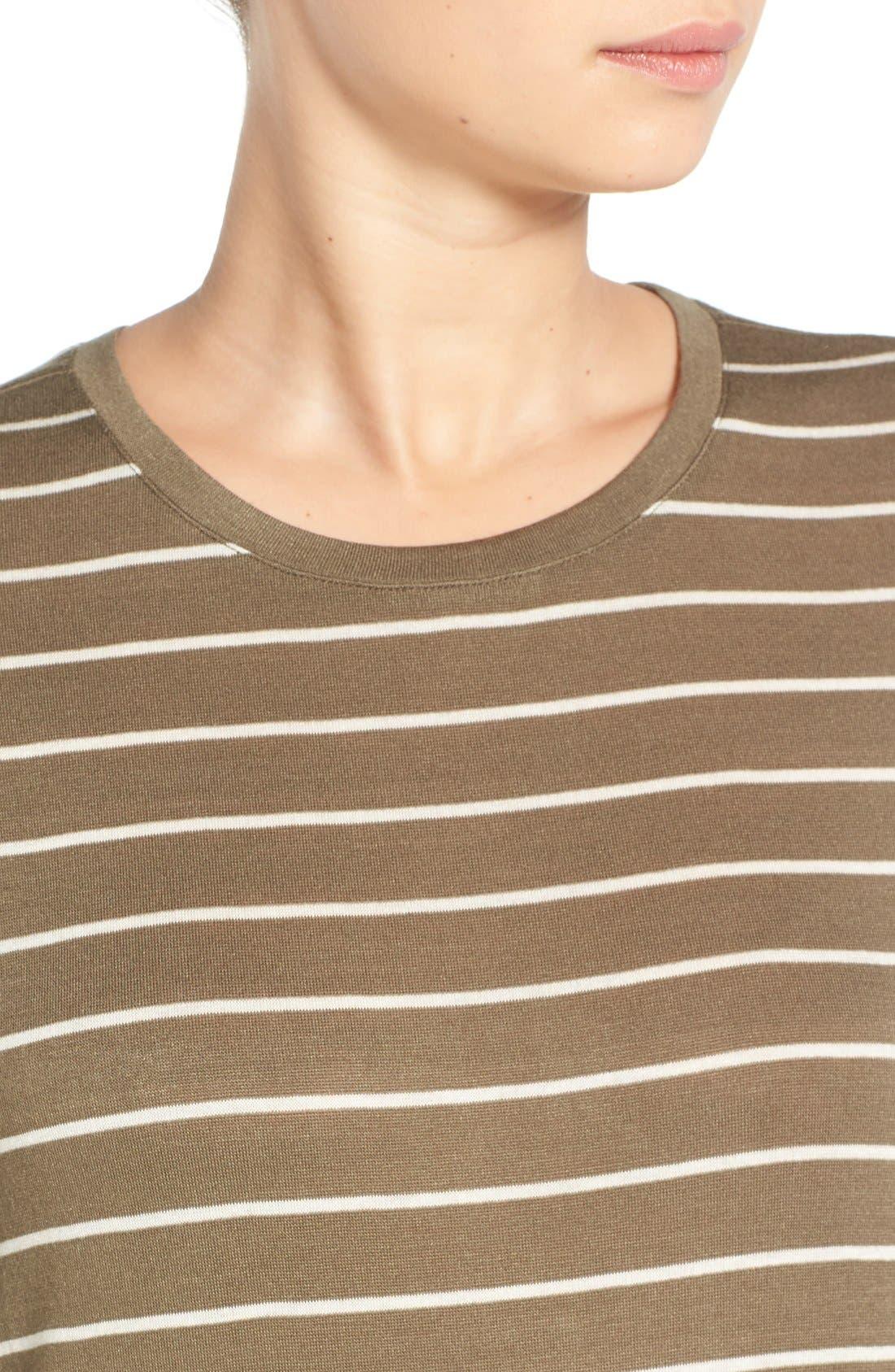 BP.,                             Stripe Long Sleeve Crewneck Tee,                             Alternate thumbnail 3, color,                             315