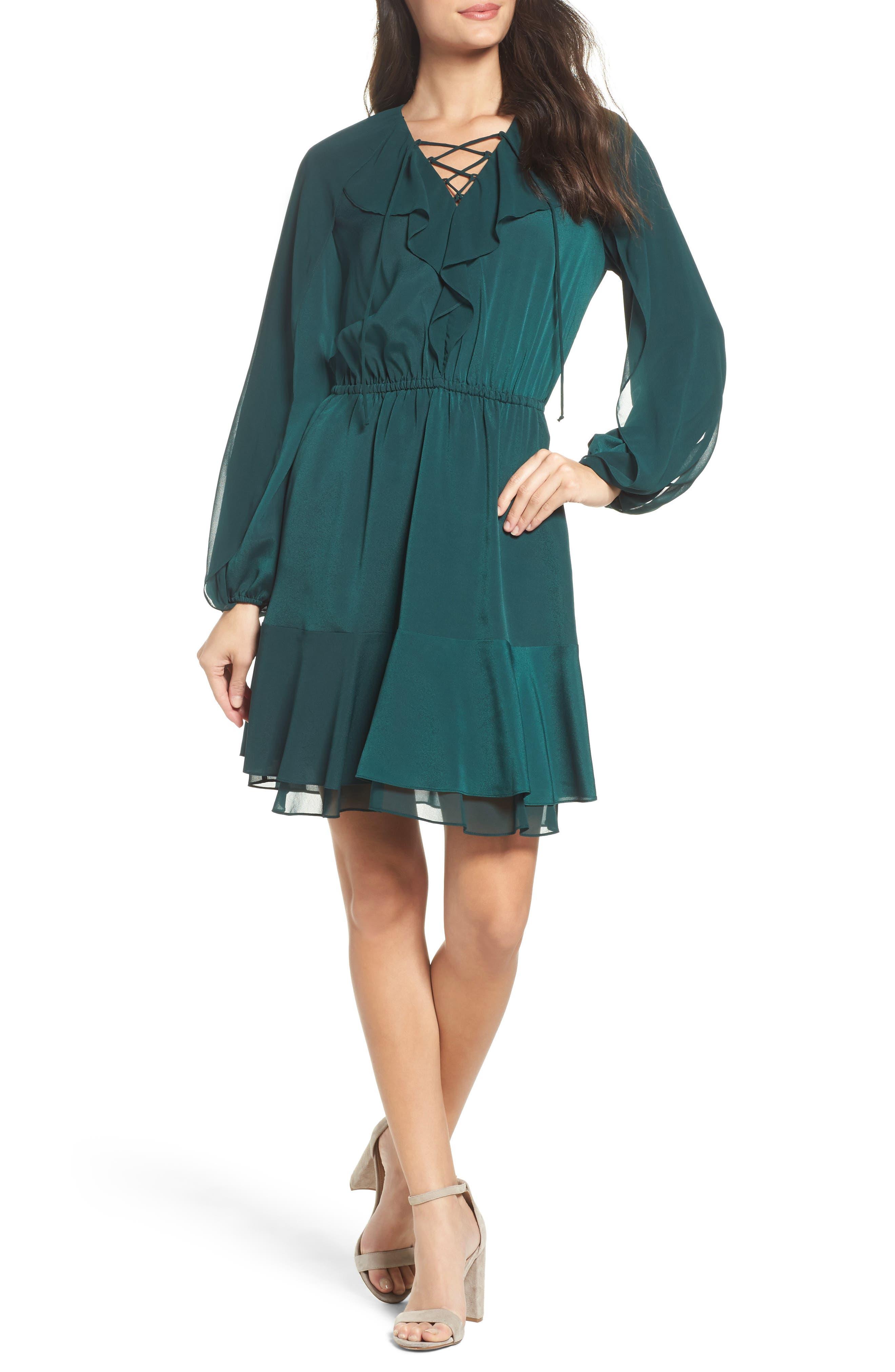 Keely Ruffle Blouson Dress,                         Main,                         color, 309