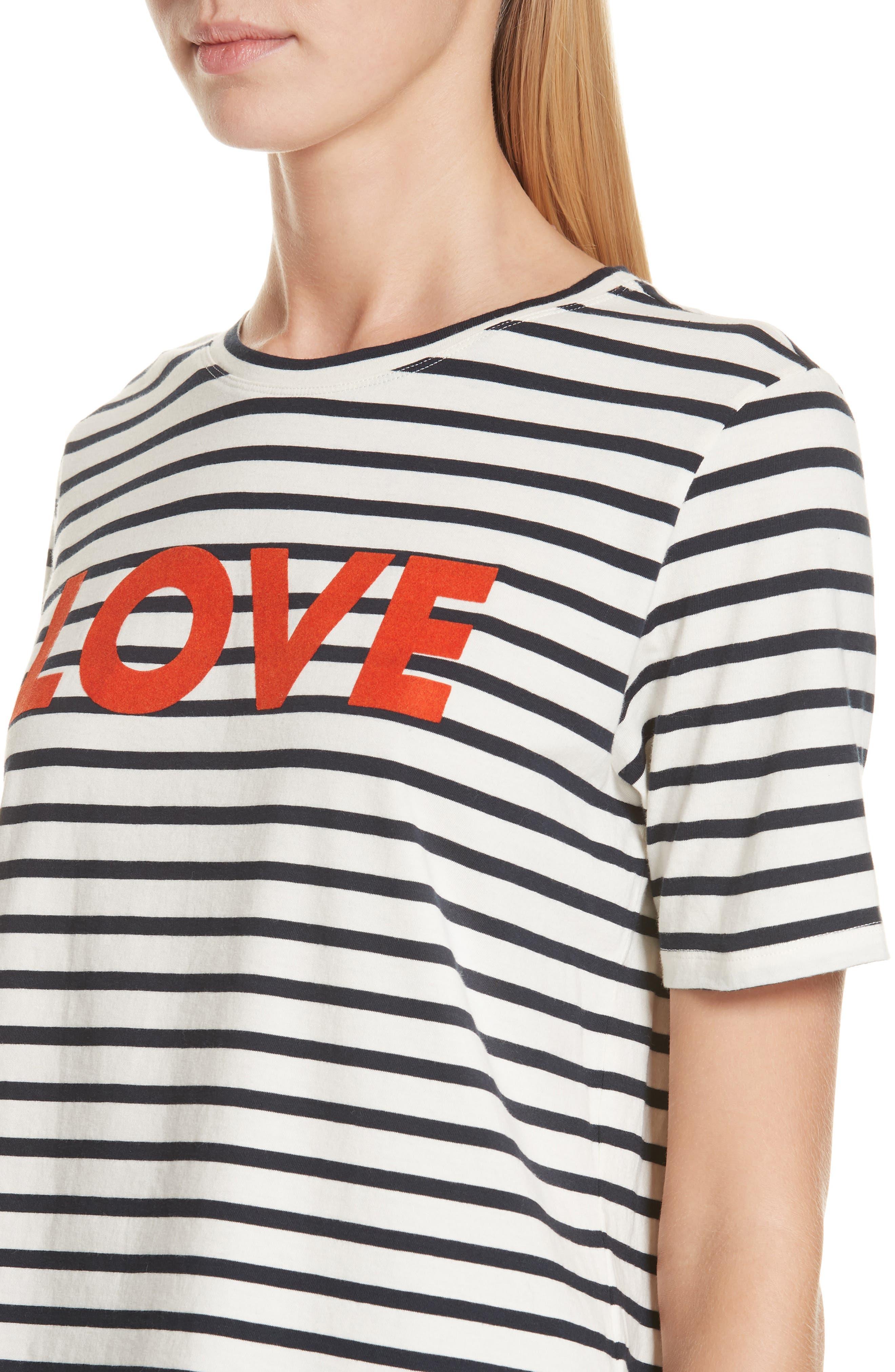 The Modern Love Stripe Tee,                             Alternate thumbnail 4, color,                             CREAM/ NAVY
