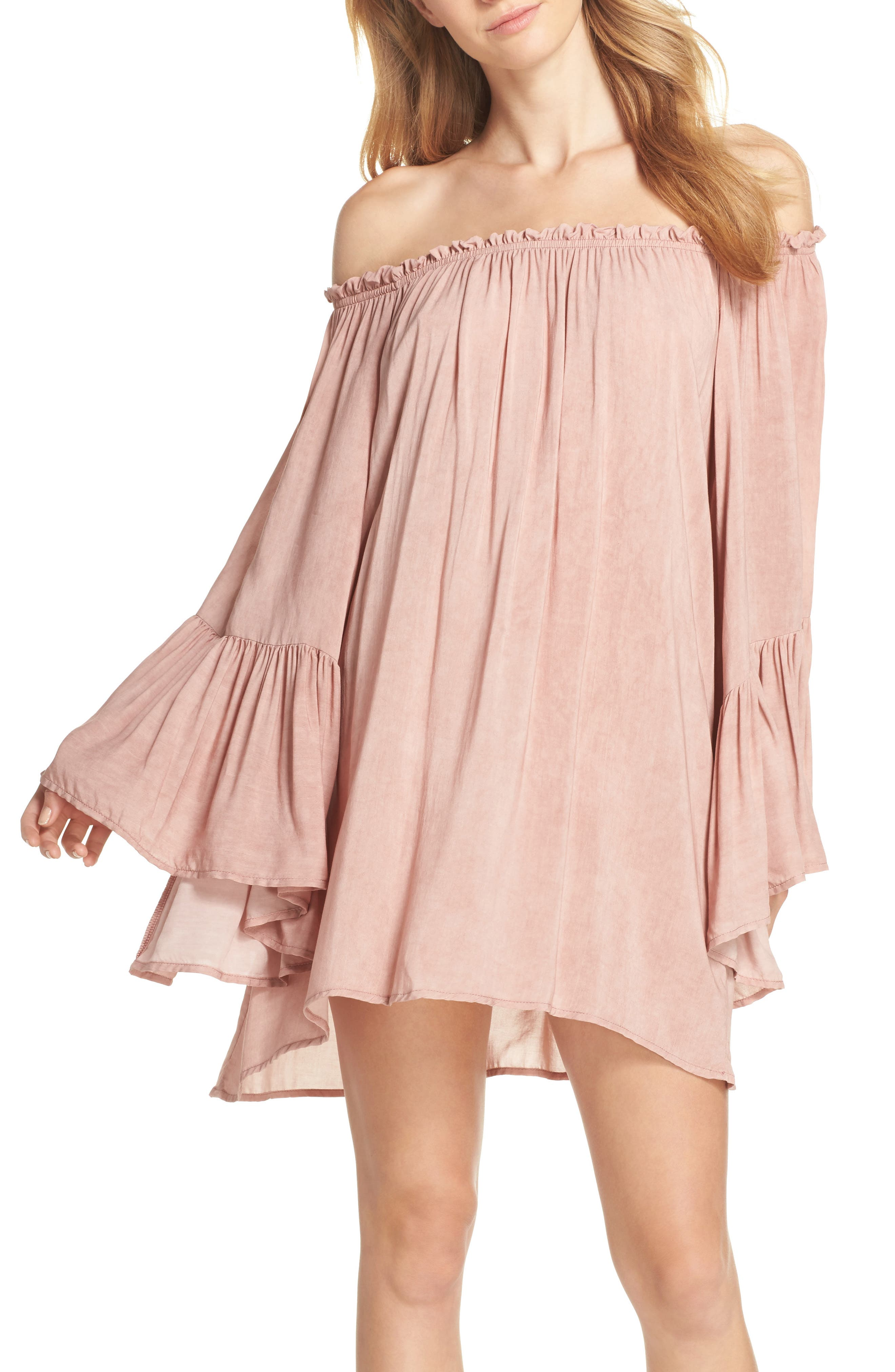 Bell Sleeve Cover-Up Tunic Dress,                             Main thumbnail 1, color,