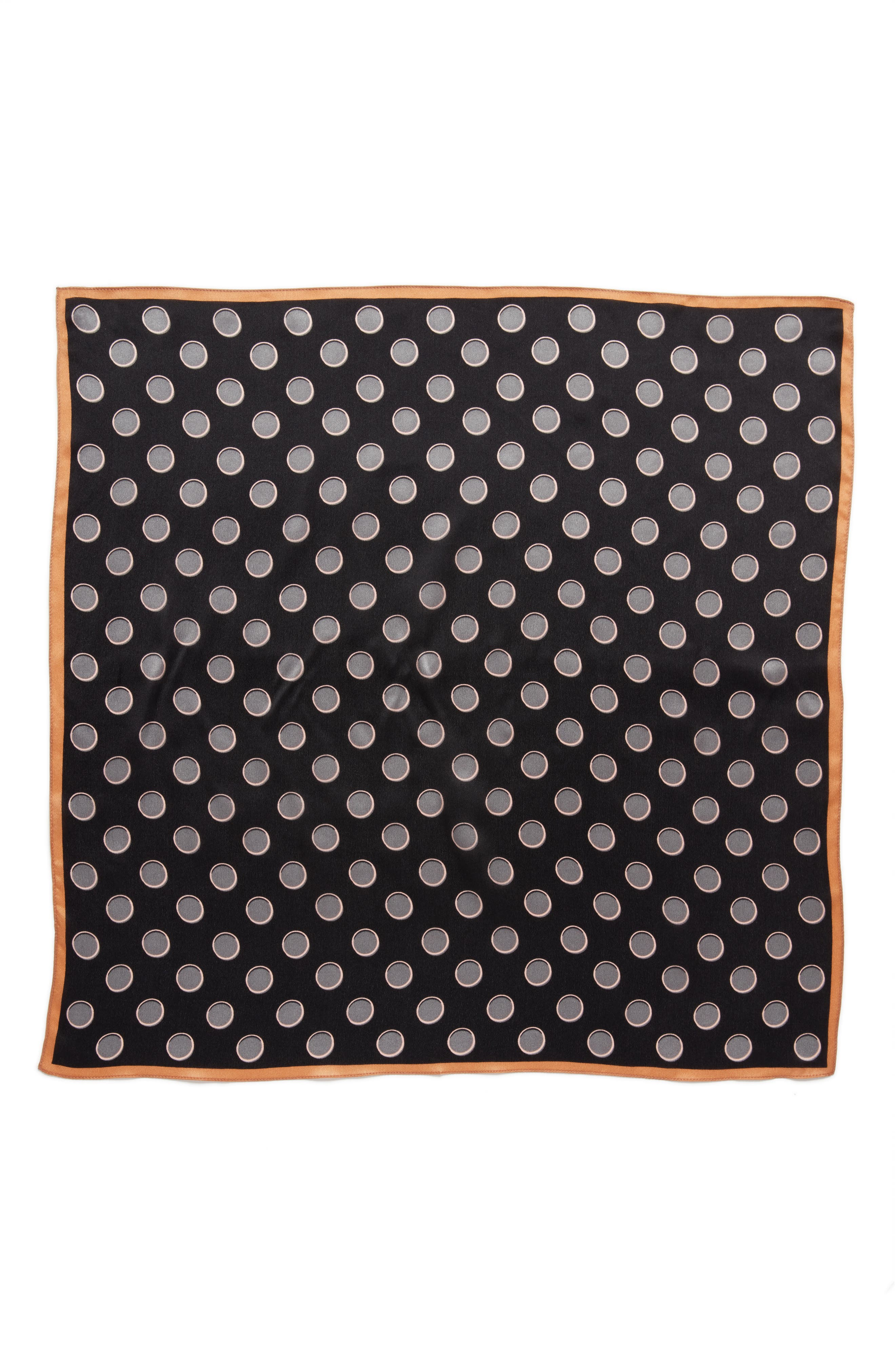 Shadow Dot Silk Square Scarf,                             Alternate thumbnail 3, color,                             001