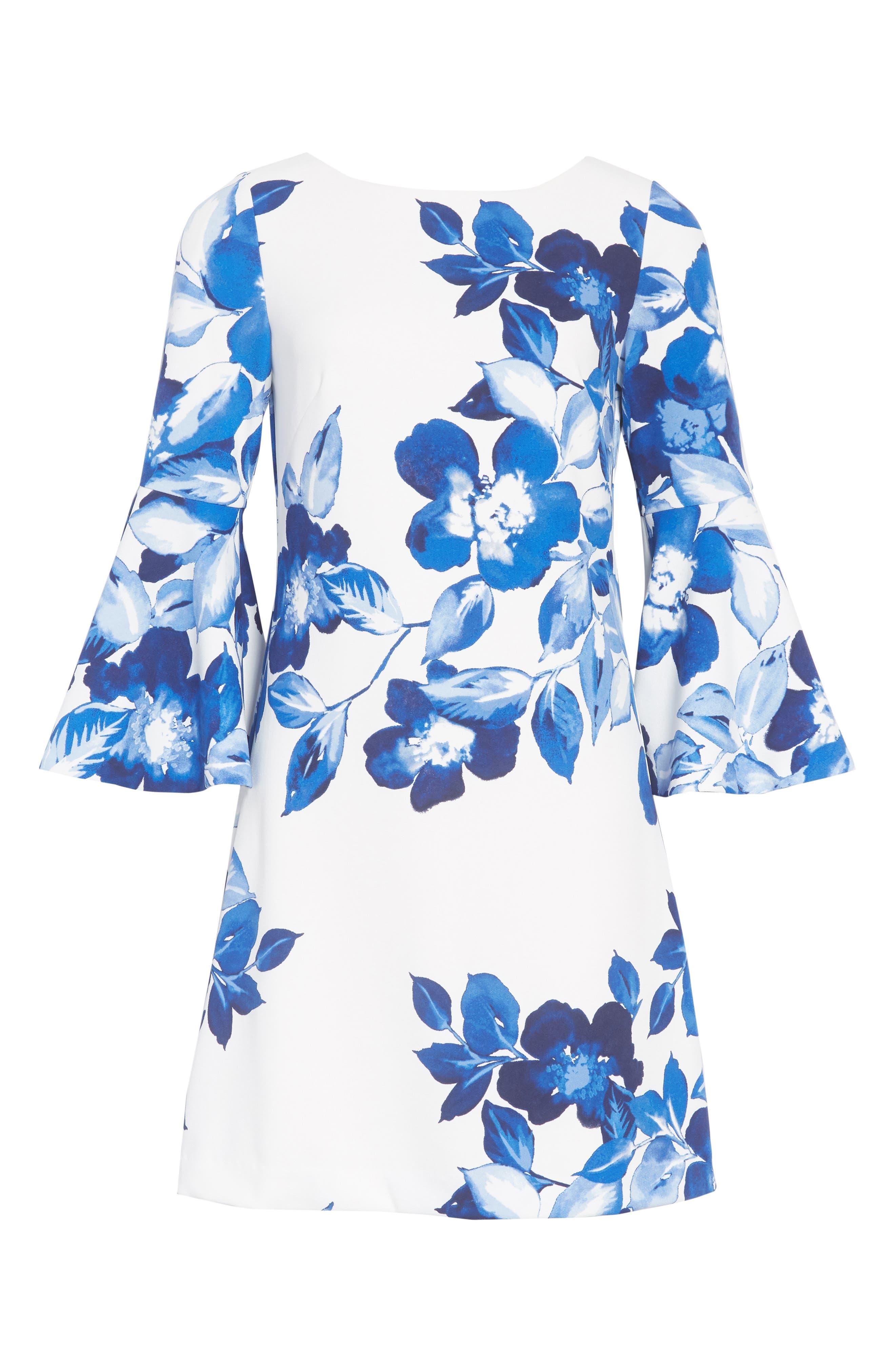 Floral Shift Dress,                             Alternate thumbnail 8, color,                             BLUE/ IVORY