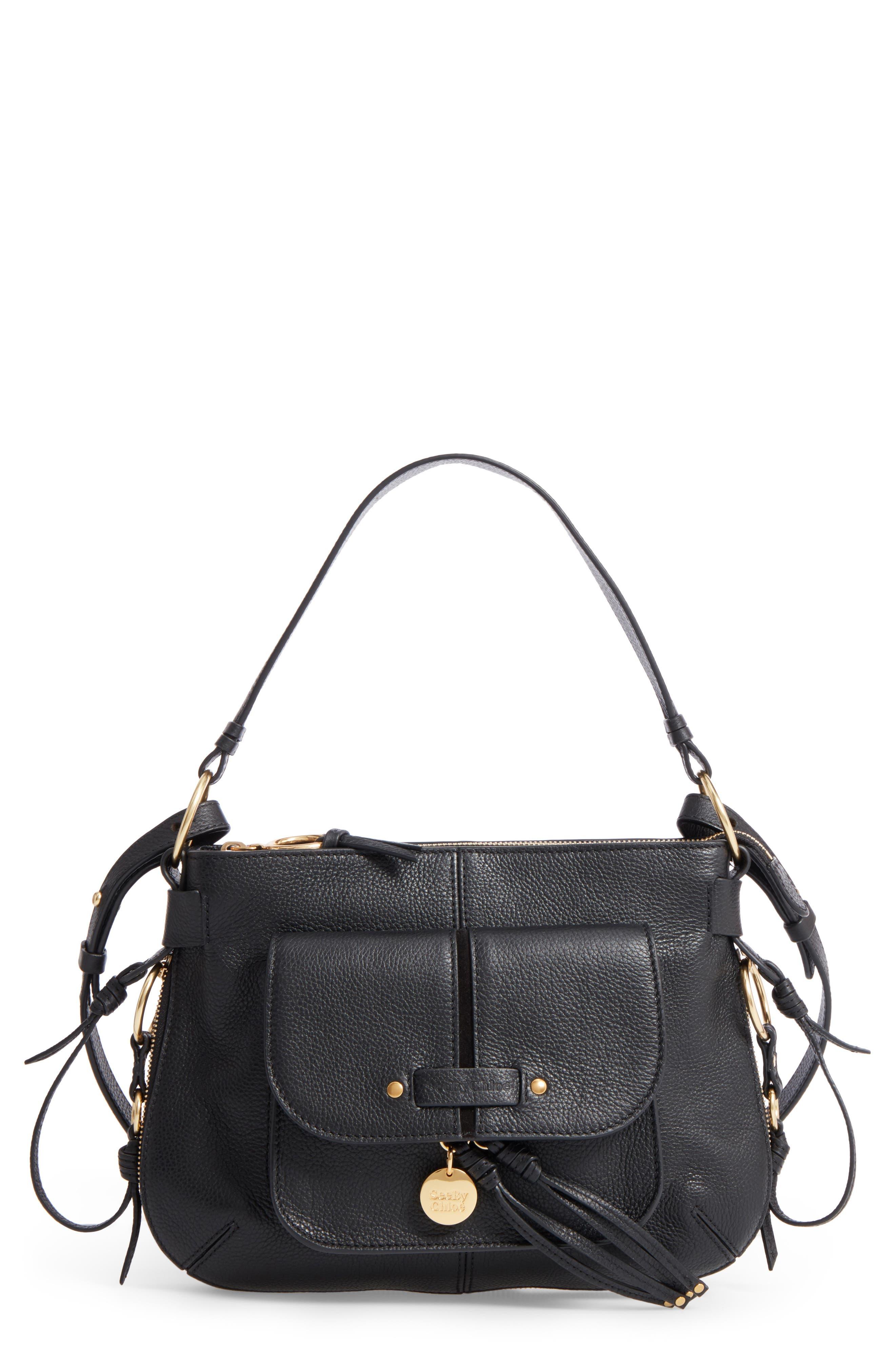 Leather Shoulder Bag,                         Main,                         color, 001