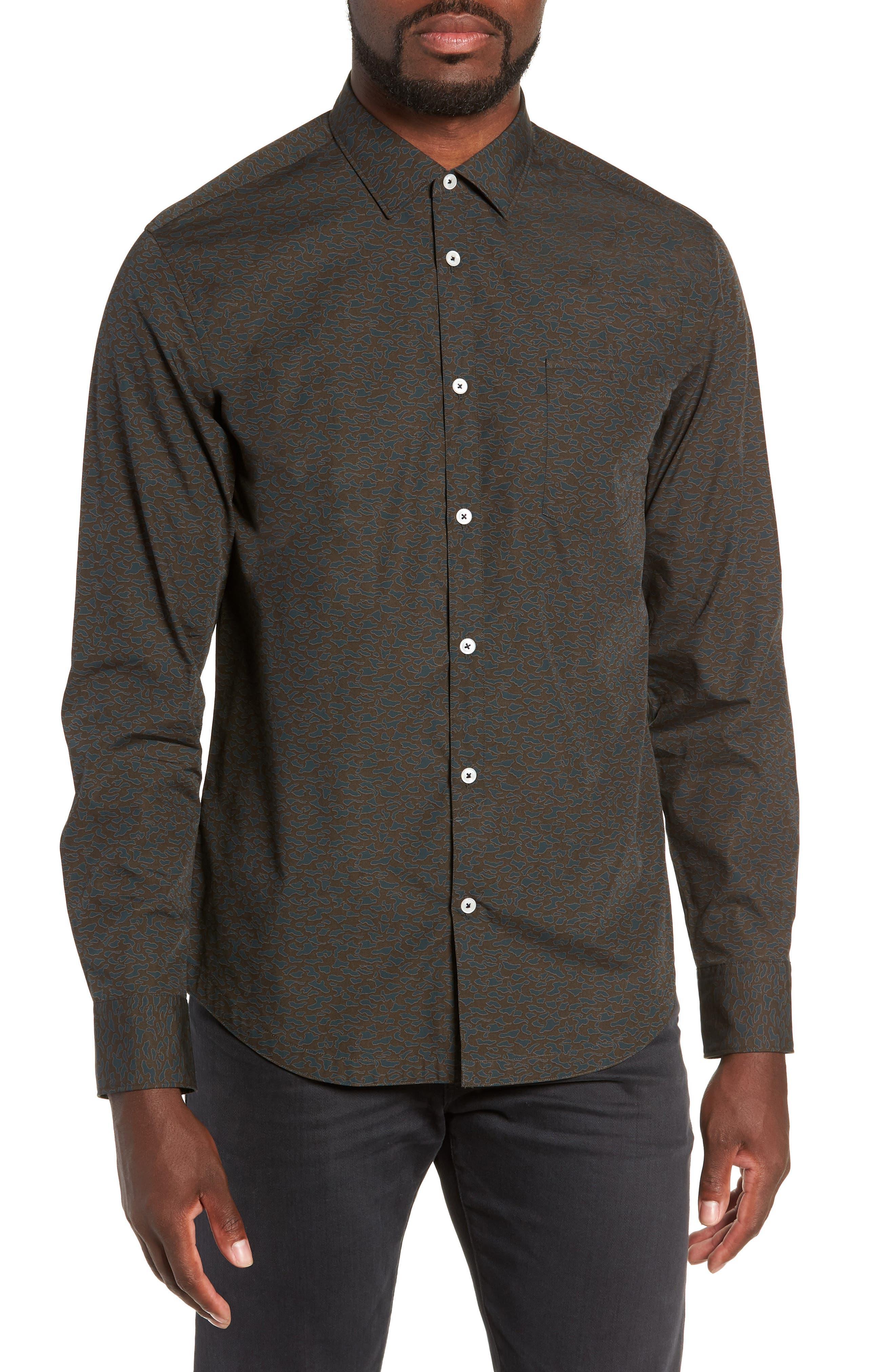 Camo Slim Fit Cotton Sport Shirt,                         Main,                         color, FOREST