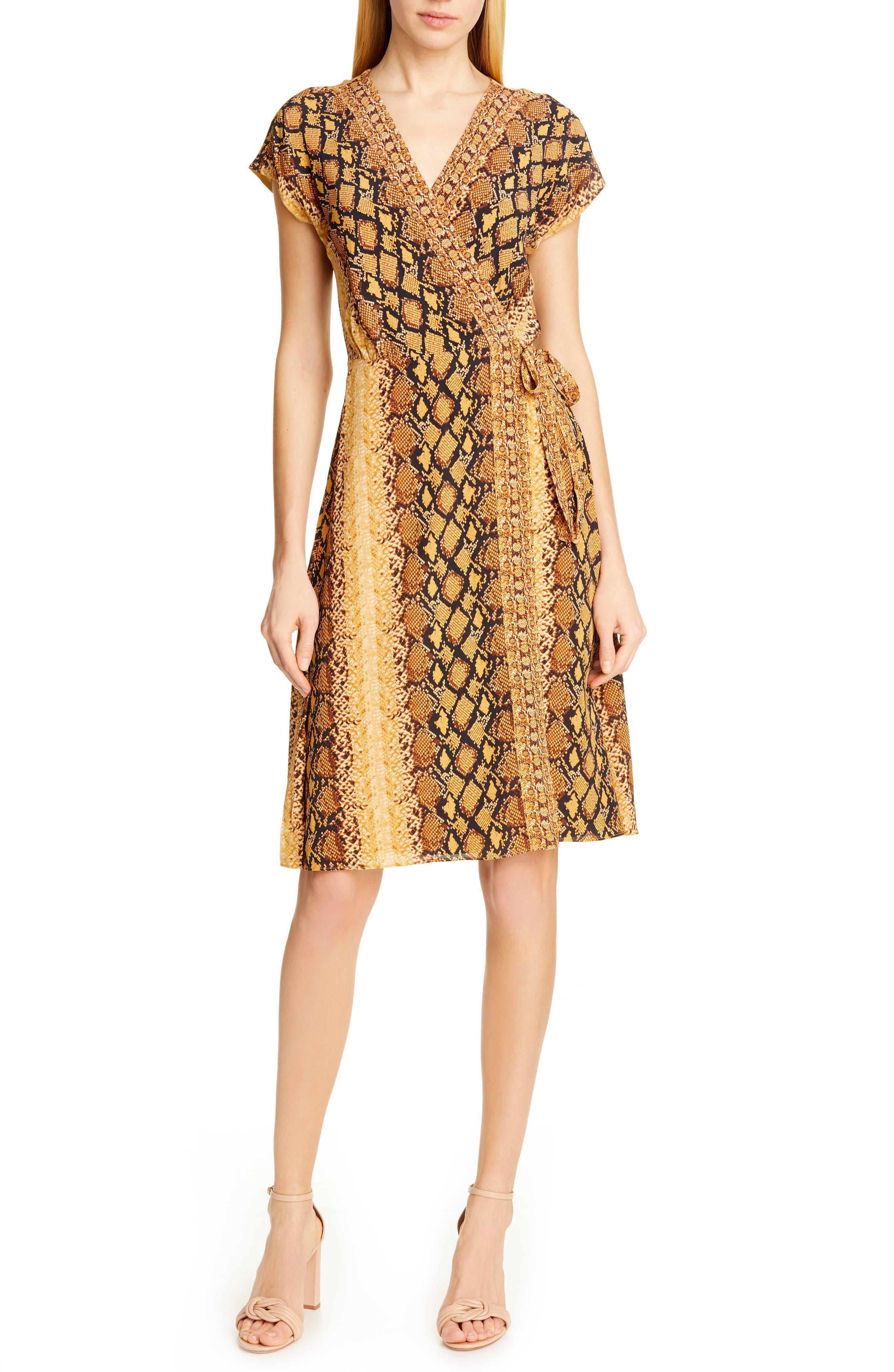 Joie Bethwyn C Snakeskin Print Wrap Style Dress, Yellow