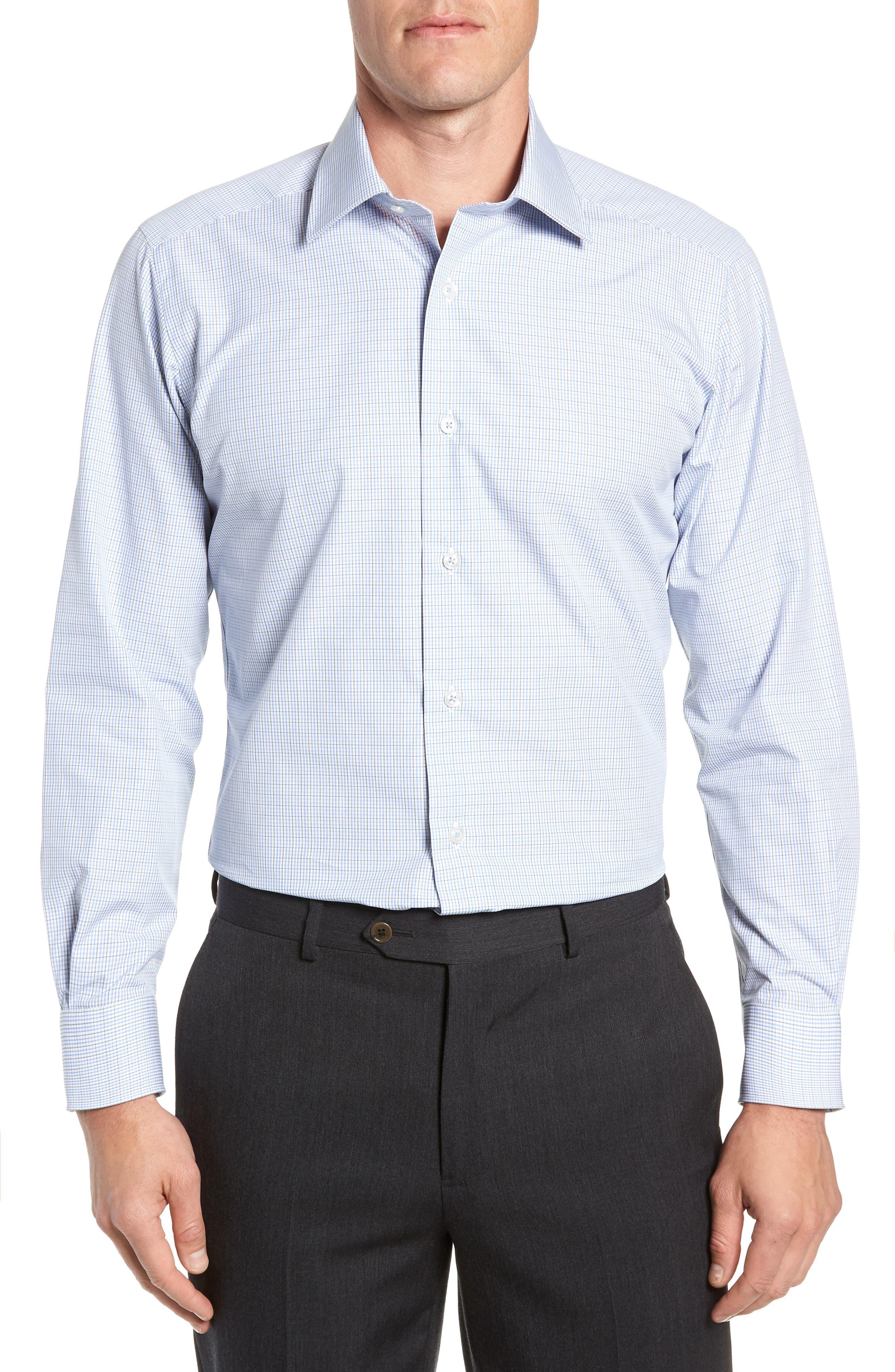Trim Fit Check Dress Shirt,                             Main thumbnail 1, color,                             OLIVE