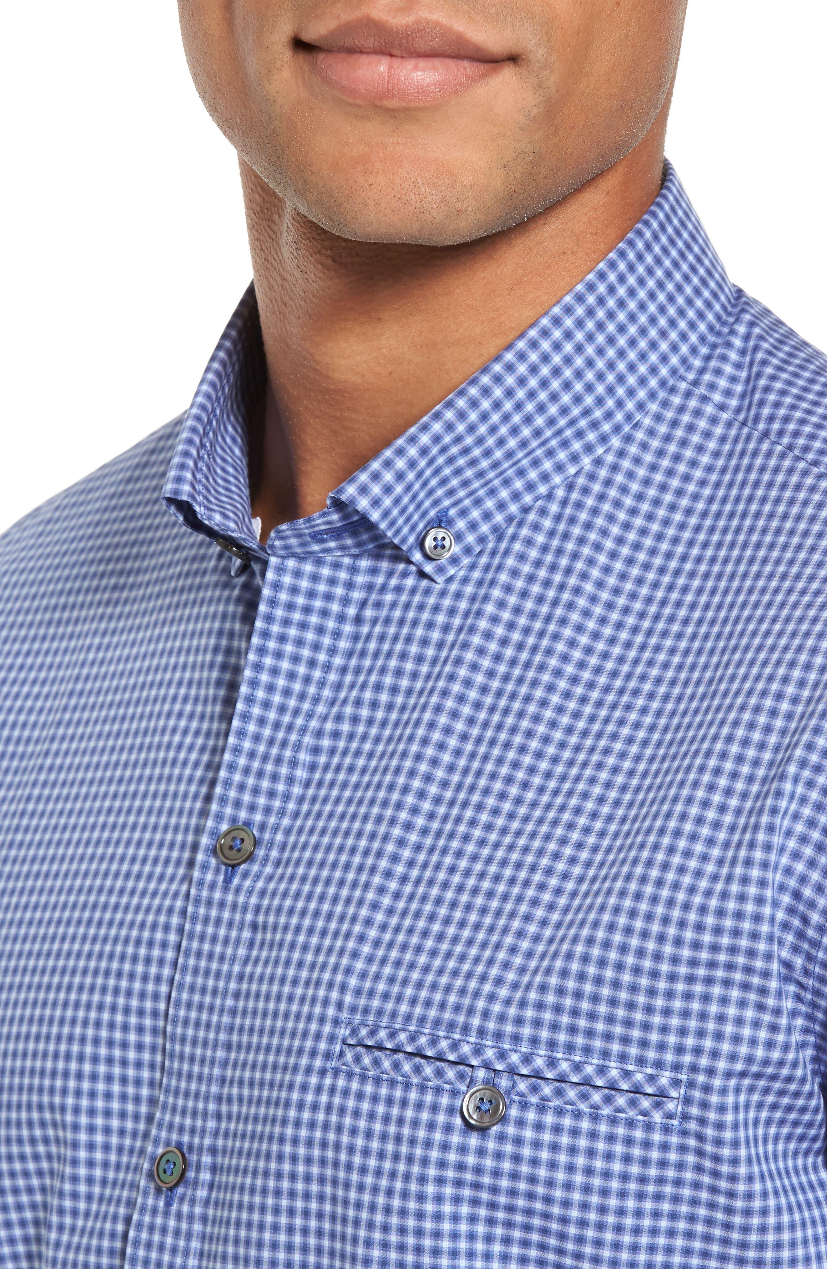 Ahmed Slim Fit Plaid Sport Shirt,                             Alternate thumbnail 8, color,