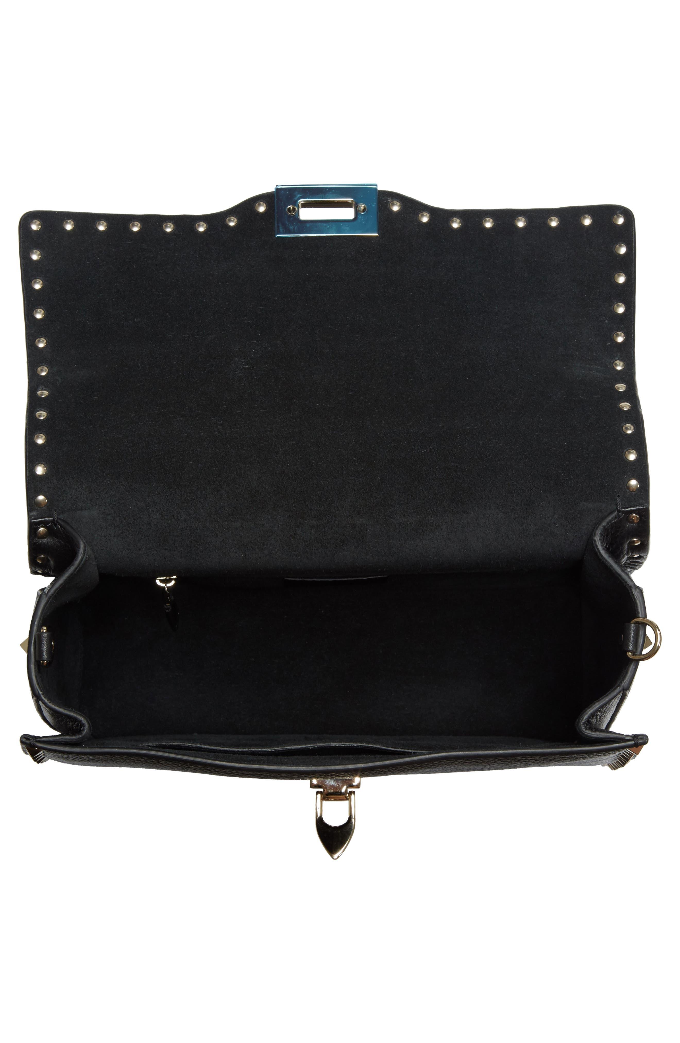 Rockstud Leather Top Handle Shoulder Bag,                             Alternate thumbnail 4, color,                             001