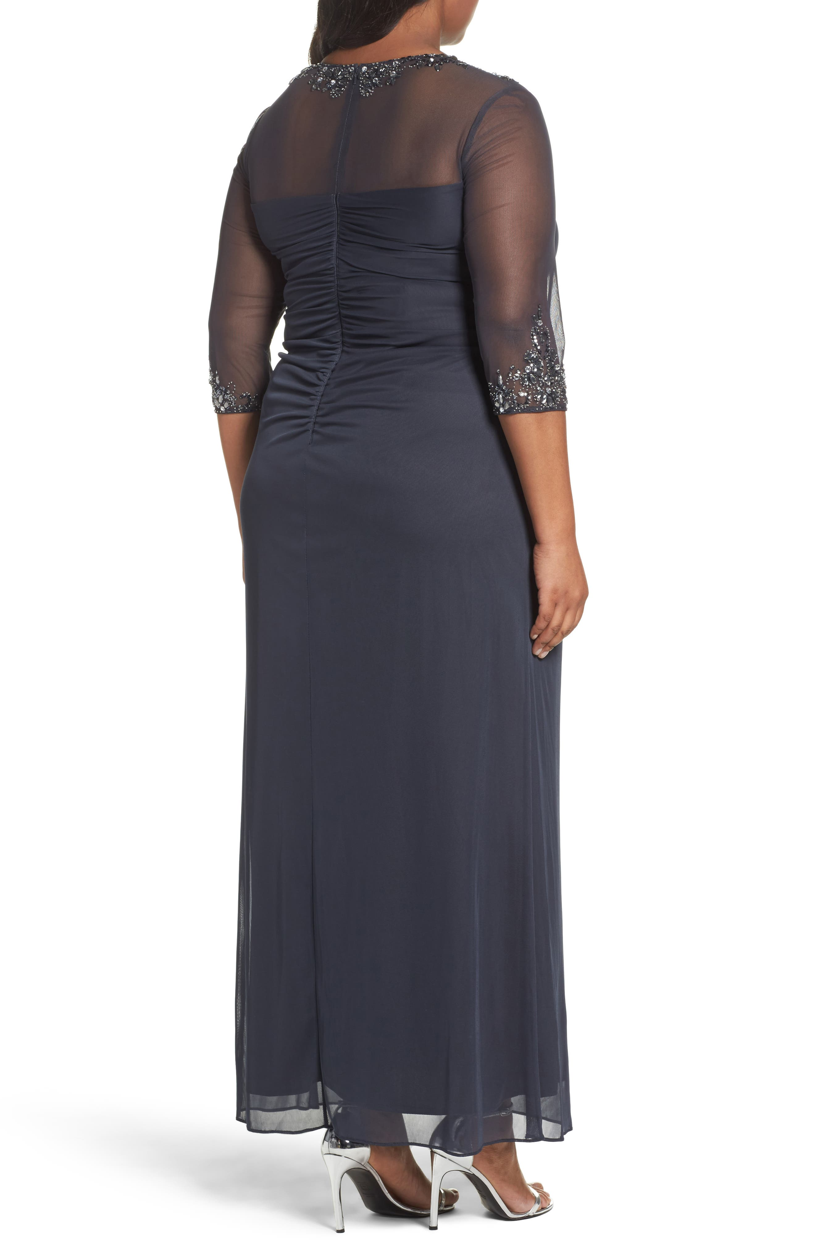 ALEX EVENINGS,                             Embellished Side Pleat Sweetheart Gown,                             Alternate thumbnail 2, color,                             CHARCOAL