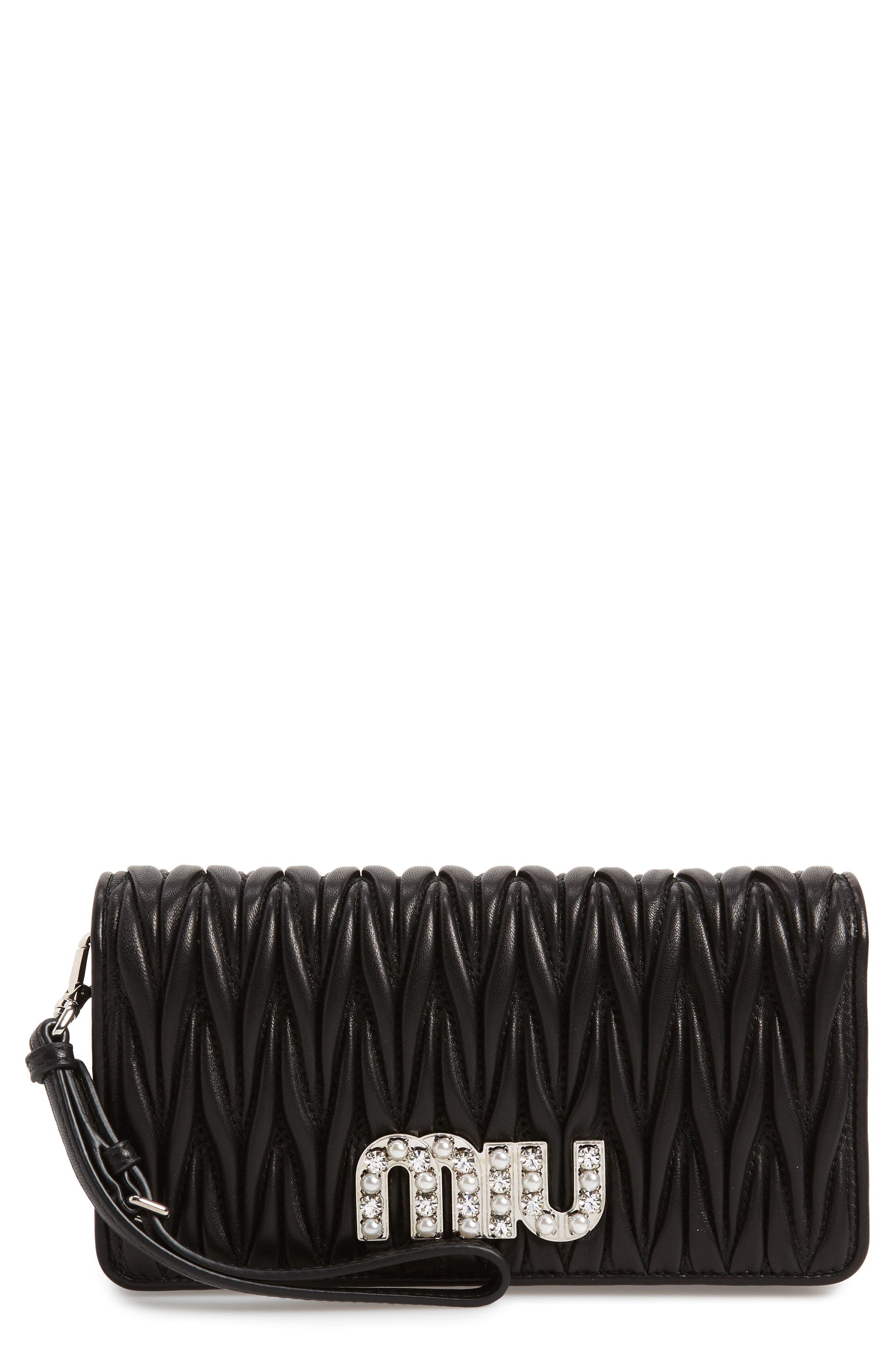 Matelassé Leather Wallet on a Chain,                             Main thumbnail 1, color,                             NERO