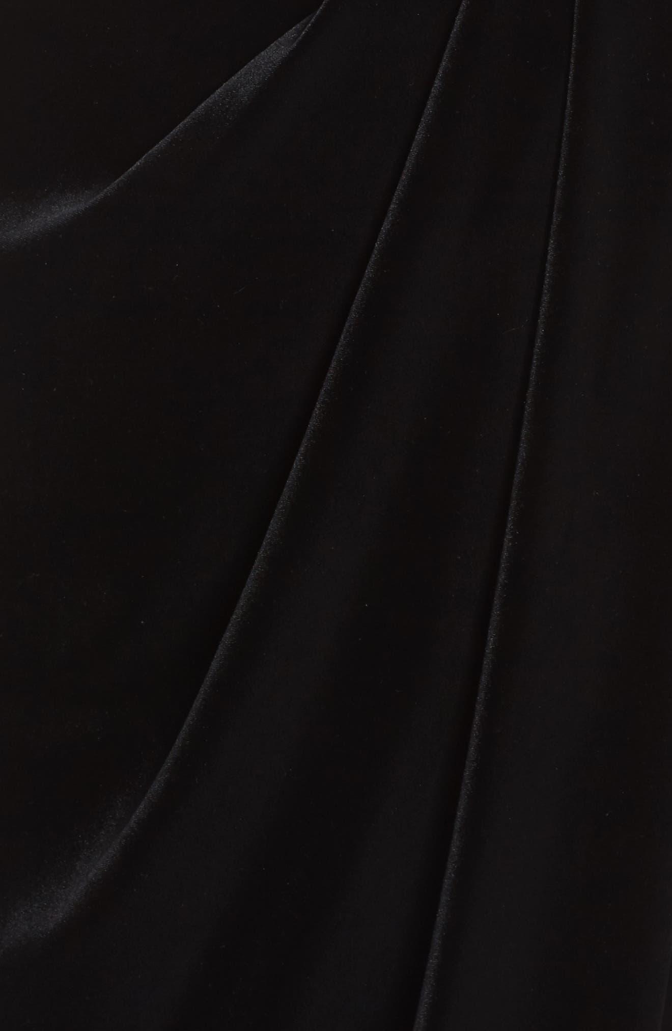 Velvet Choker Neck Wrap Dress,                             Alternate thumbnail 5, color,                             001