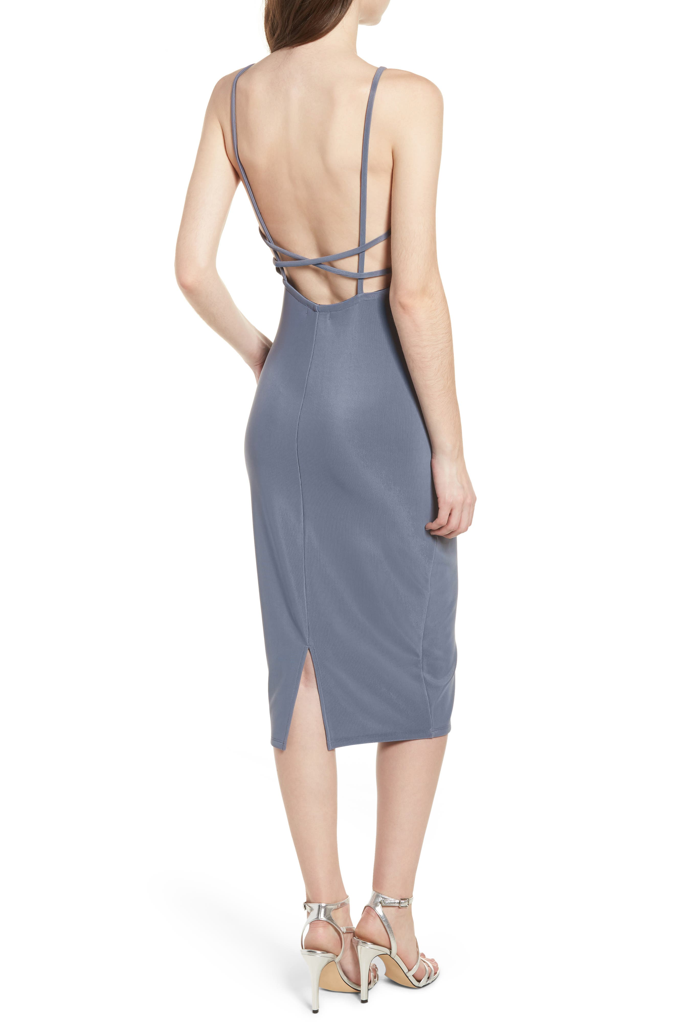 Strappy Bodycon Dress,                             Alternate thumbnail 2, color,                             GREY GRISAILLE