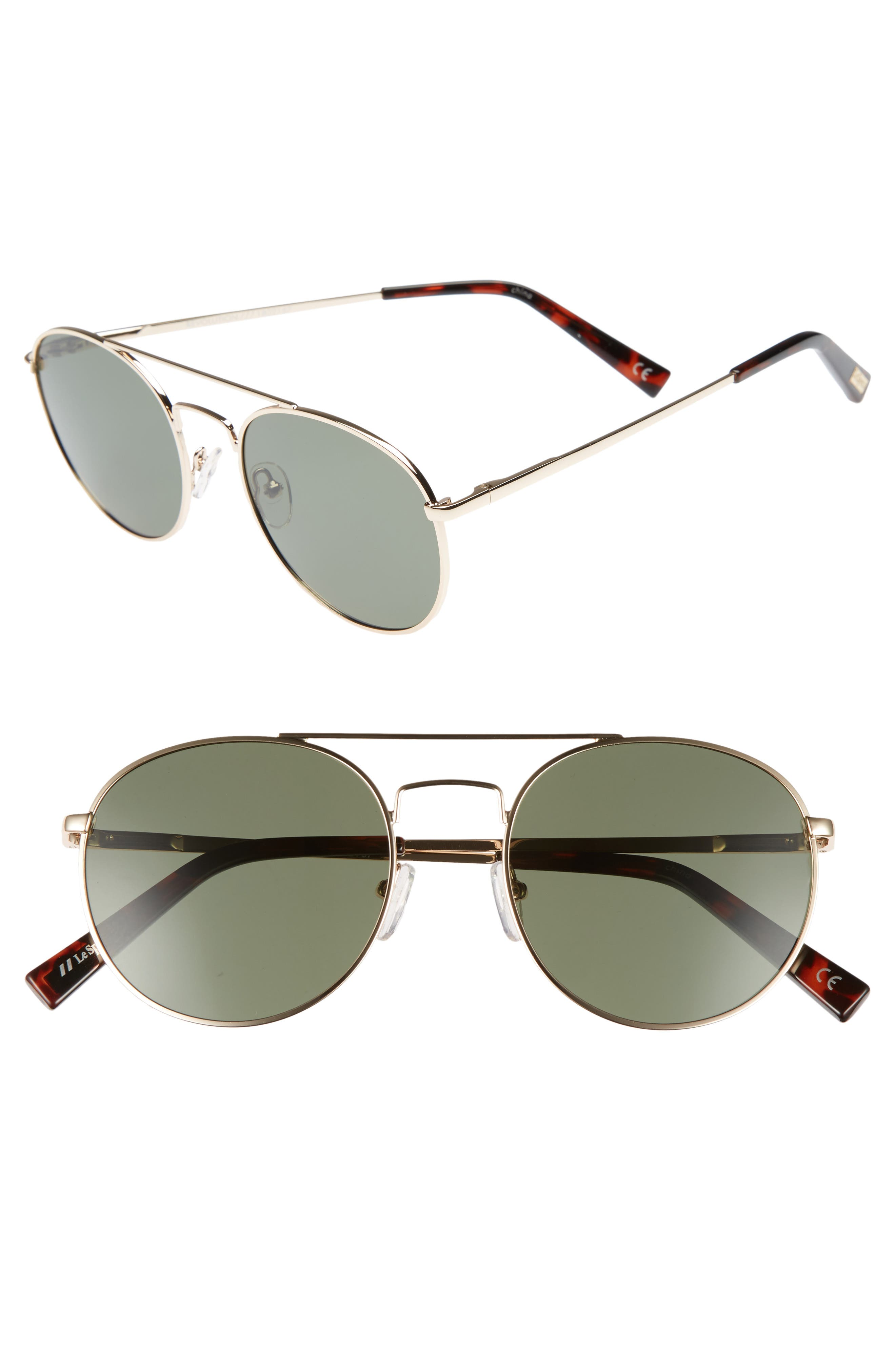 Revolution 53mm Aviator Sunglasses,                         Main,                         color, GOLD